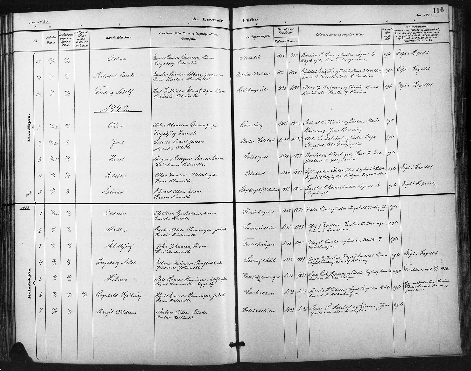 SAH, Vestre Gausdal prestekontor, Klokkerbok nr. 3, 1896-1925, s. 116