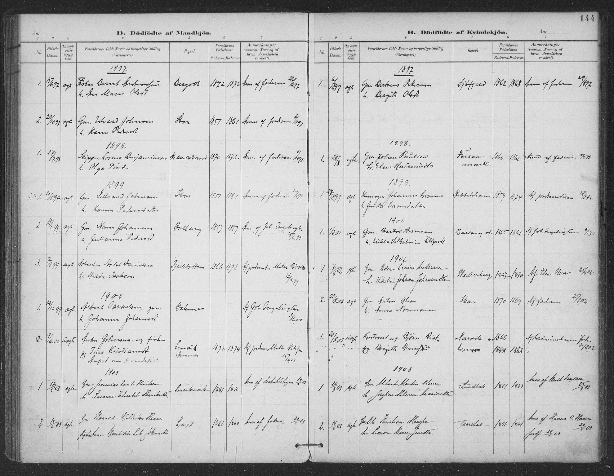 SAT, Ministerialprotokoller, klokkerbøker og fødselsregistre - Nordland, 863/L0899: Ministerialbok nr. 863A11, 1897-1906, s. 144