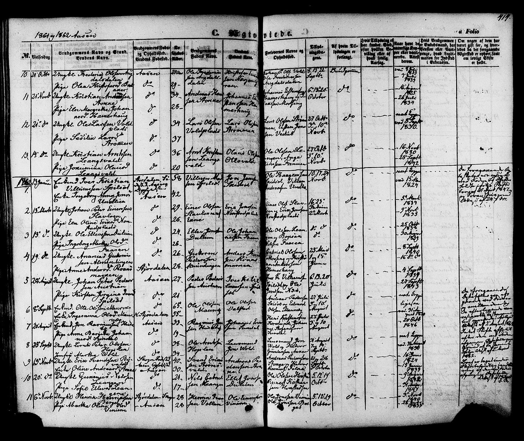 SAT, Ministerialprotokoller, klokkerbøker og fødselsregistre - Nord-Trøndelag, 713/L0116: Ministerialbok nr. 713A07, 1850-1877, s. 414