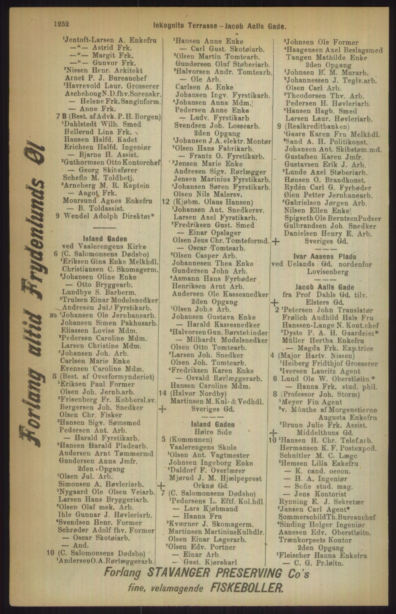 RA, Kristiania adressebok (publikasjon)*, 1911, s. 1252