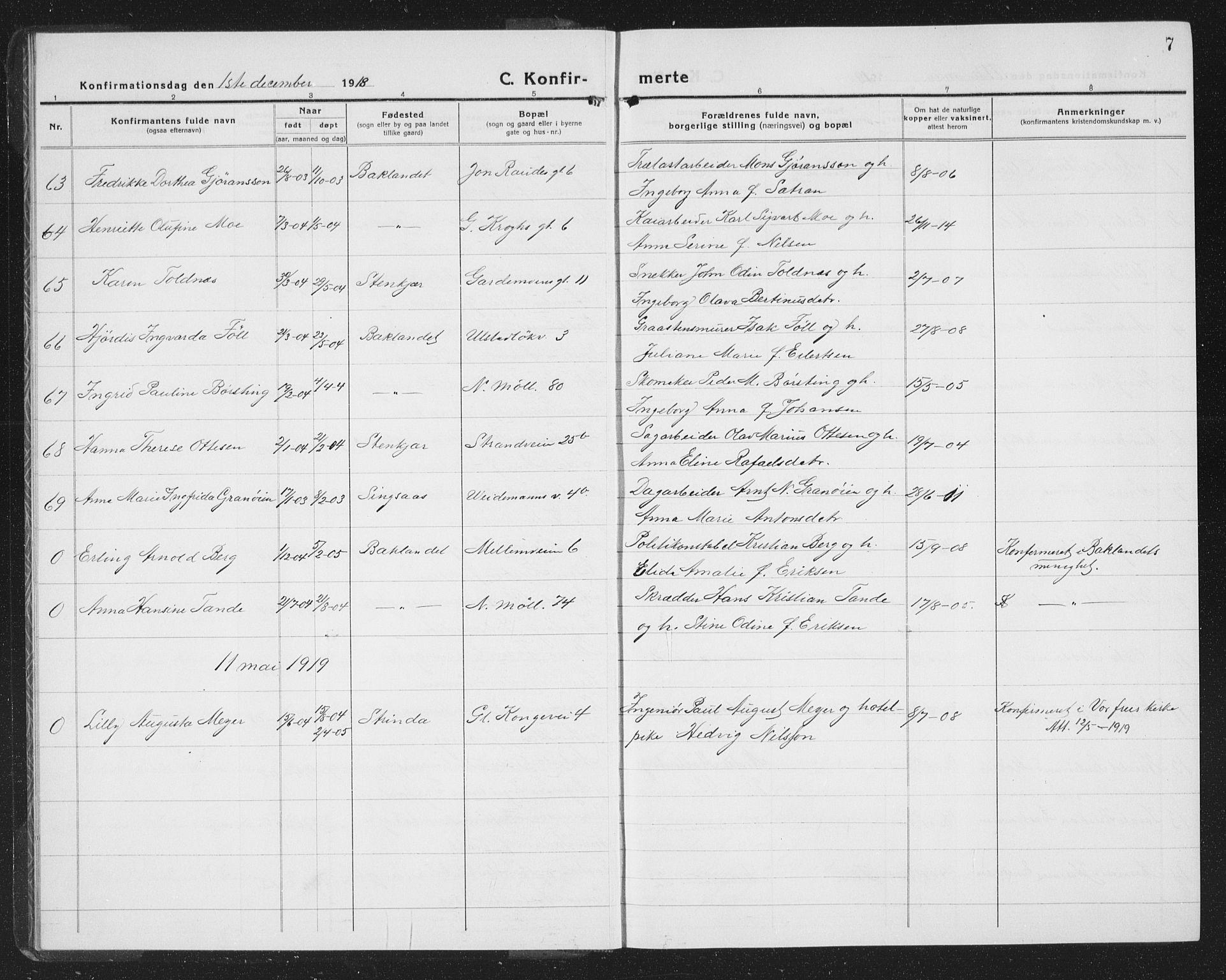SAT, Ministerialprotokoller, klokkerbøker og fødselsregistre - Sør-Trøndelag, 605/L0258: Klokkerbok nr. 605C05, 1918-1930, s. 7
