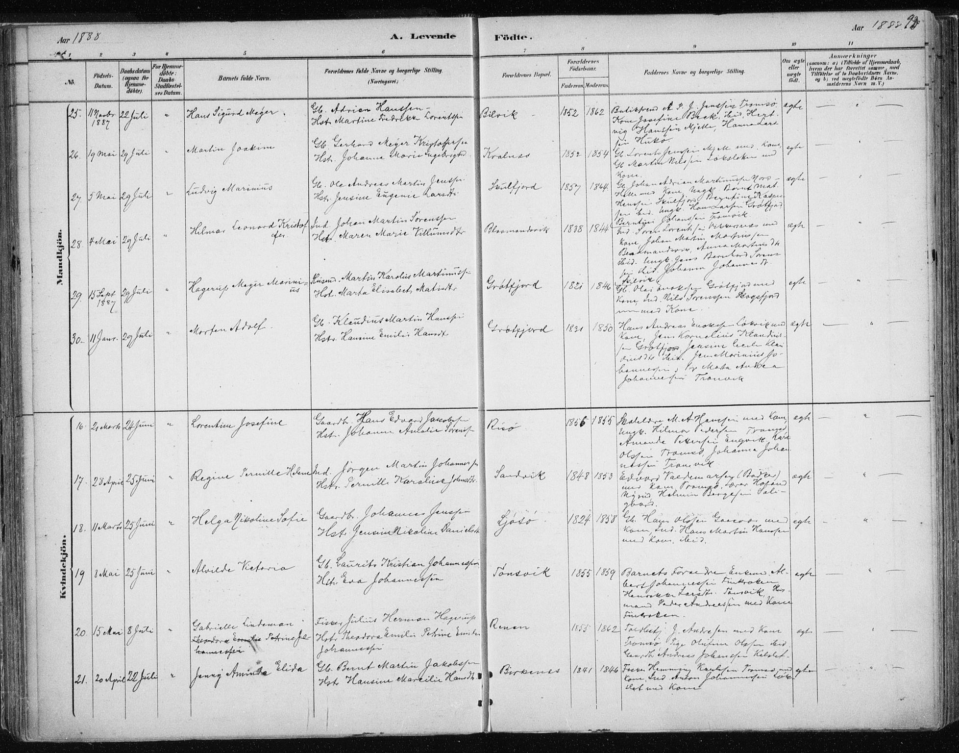 SATØ, Tromsøysund sokneprestkontor, G/Ga/L0004kirke: Ministerialbok nr. 4, 1880-1888, s. 93