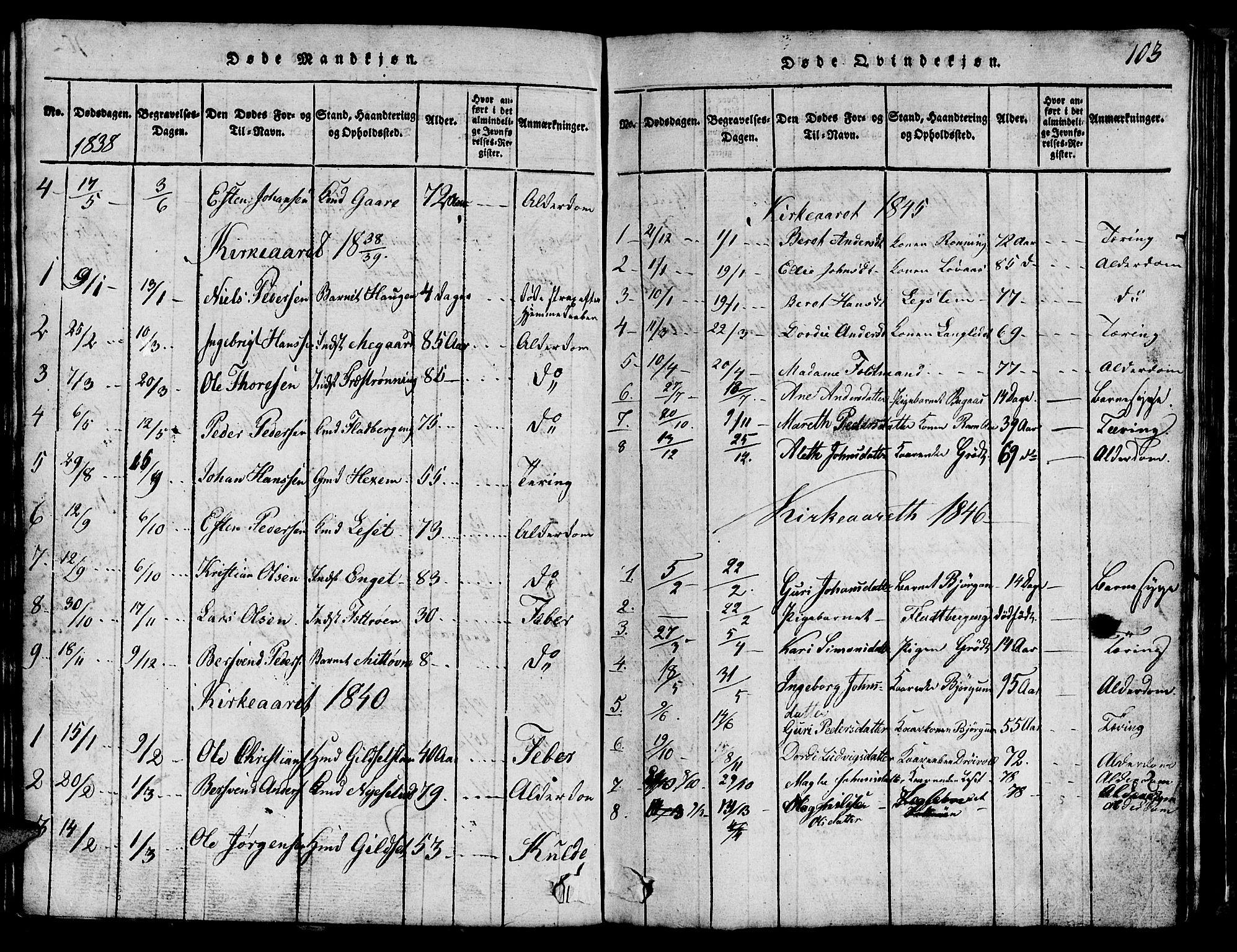SAT, Ministerialprotokoller, klokkerbøker og fødselsregistre - Sør-Trøndelag, 685/L0976: Klokkerbok nr. 685C01, 1817-1878, s. 103