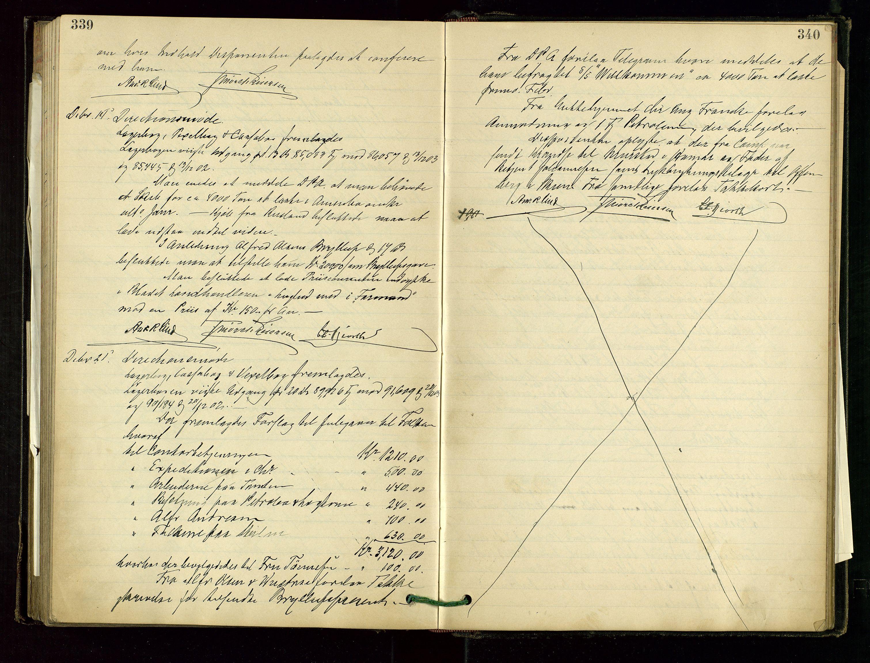 SAST, PA 1534 - Østlandske Petroleumscompagni A/S, A/Aa/L0001: Generalforsamlinger og direksjonsprotokoller., 1892-1905, s. 339-340