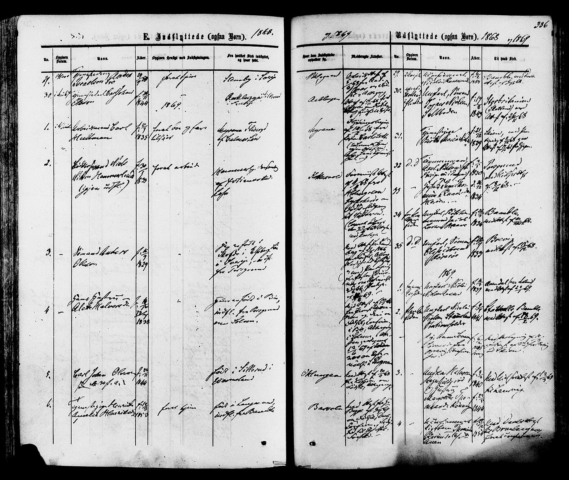 SAKO, Eidanger kirkebøker, F/Fa/L0010: Ministerialbok nr. 10, 1859-1874, s. 336