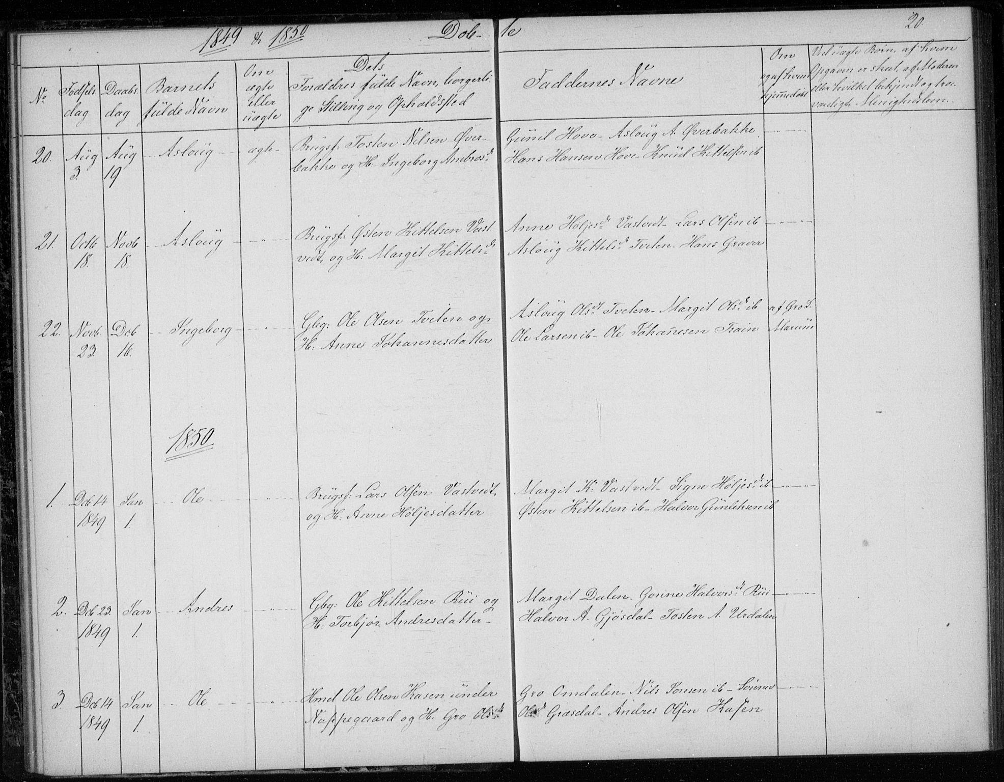 SAKO, Gransherad kirkebøker, F/Fb/L0003: Ministerialbok nr. II 3, 1844-1859, s. 20