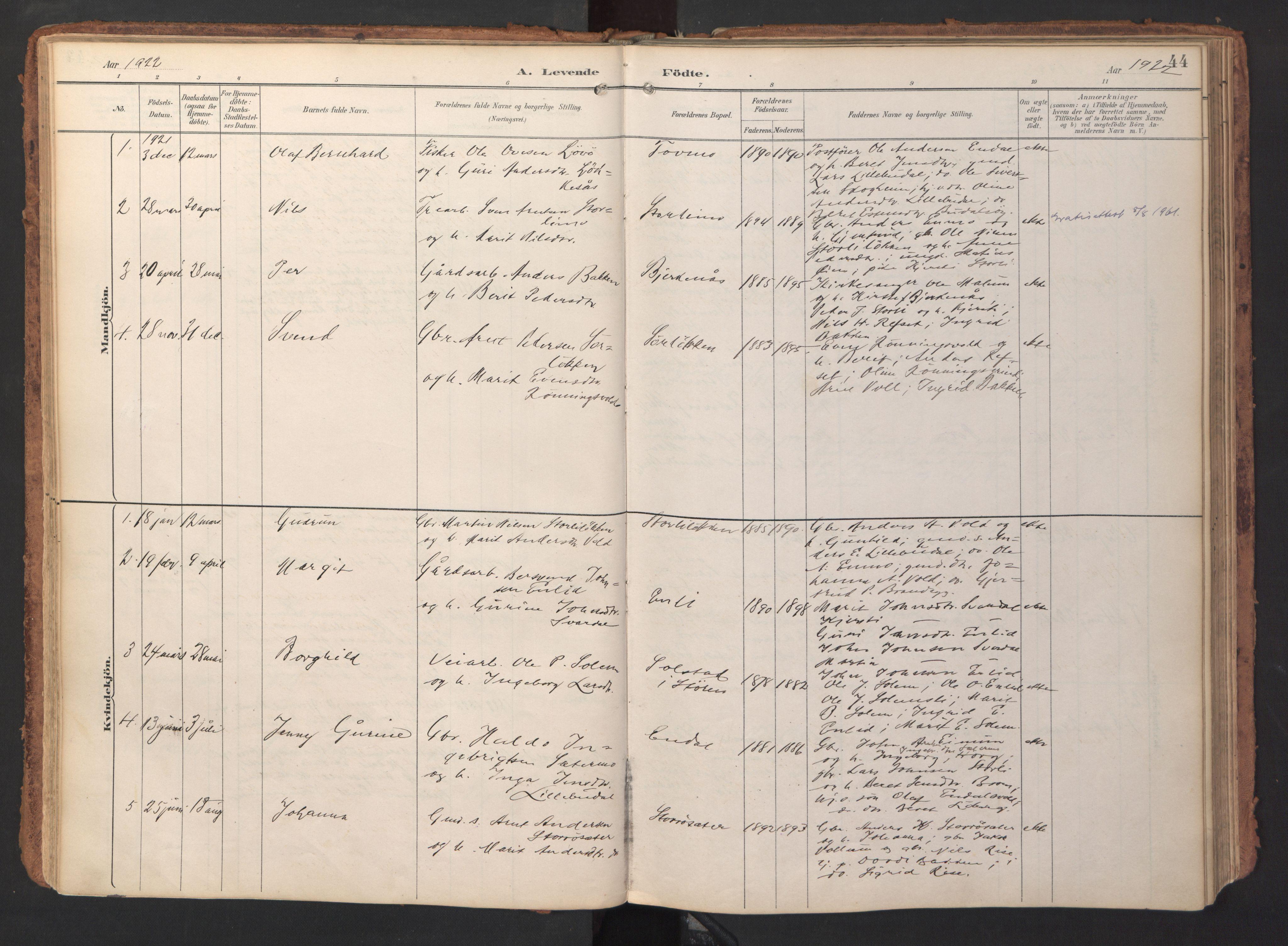 SAT, Ministerialprotokoller, klokkerbøker og fødselsregistre - Sør-Trøndelag, 690/L1050: Ministerialbok nr. 690A01, 1889-1929, s. 44
