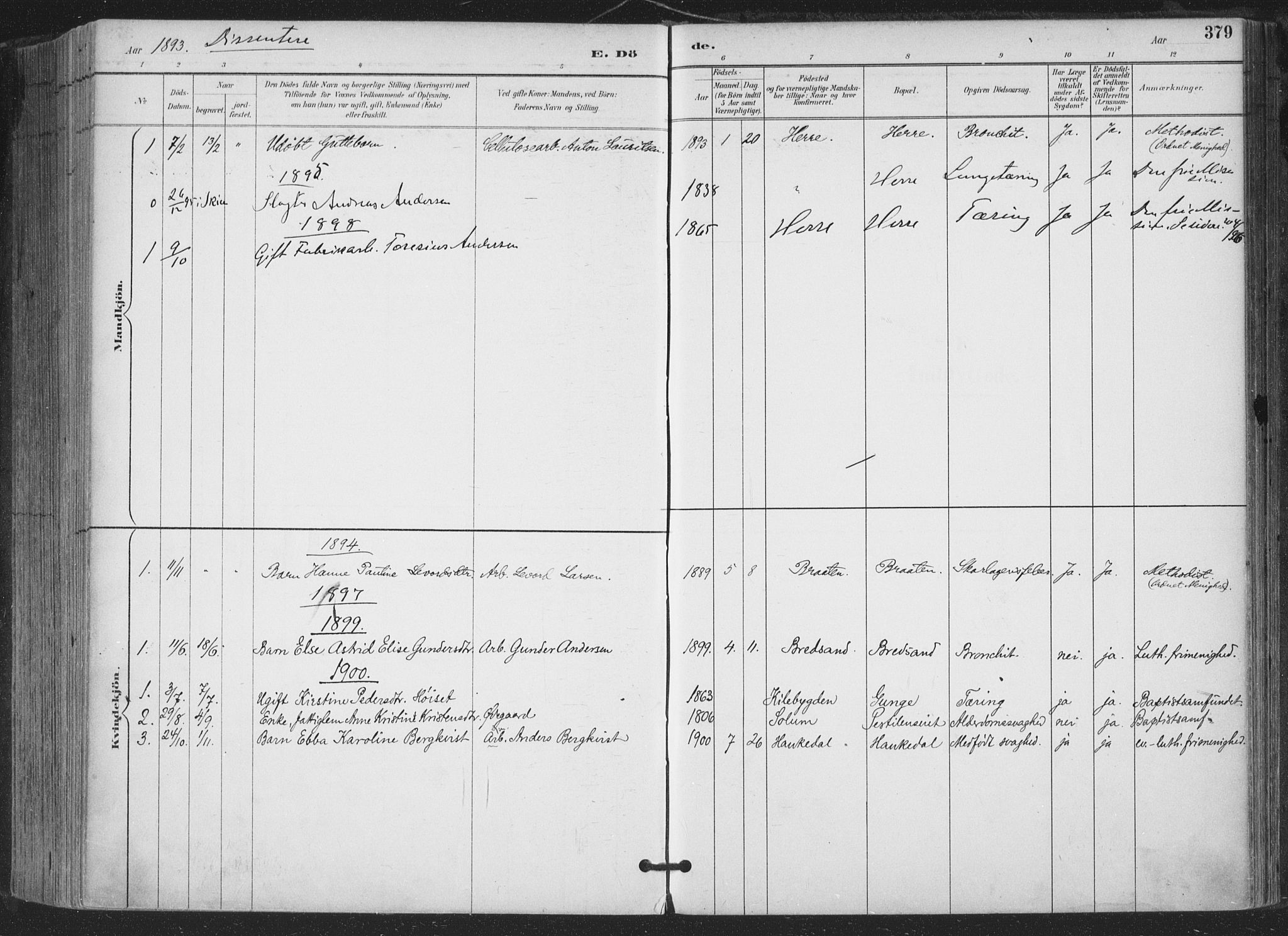 SAKO, Bamble kirkebøker, F/Fa/L0008: Ministerialbok nr. I 8, 1888-1900, s. 379