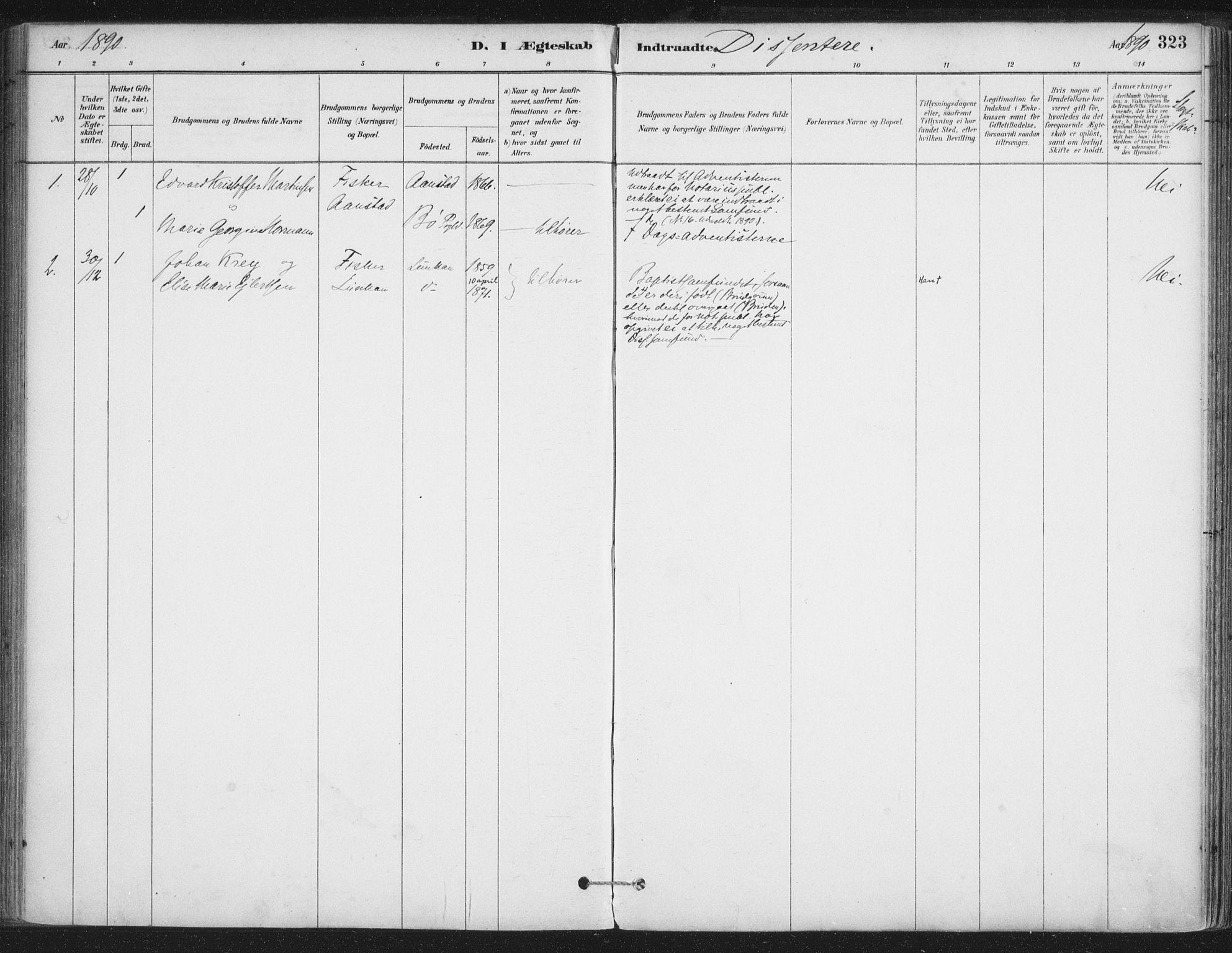 SAT, Ministerialprotokoller, klokkerbøker og fødselsregistre - Nordland, 888/L1244: Ministerialbok nr. 888A10, 1880-1890, s. 323
