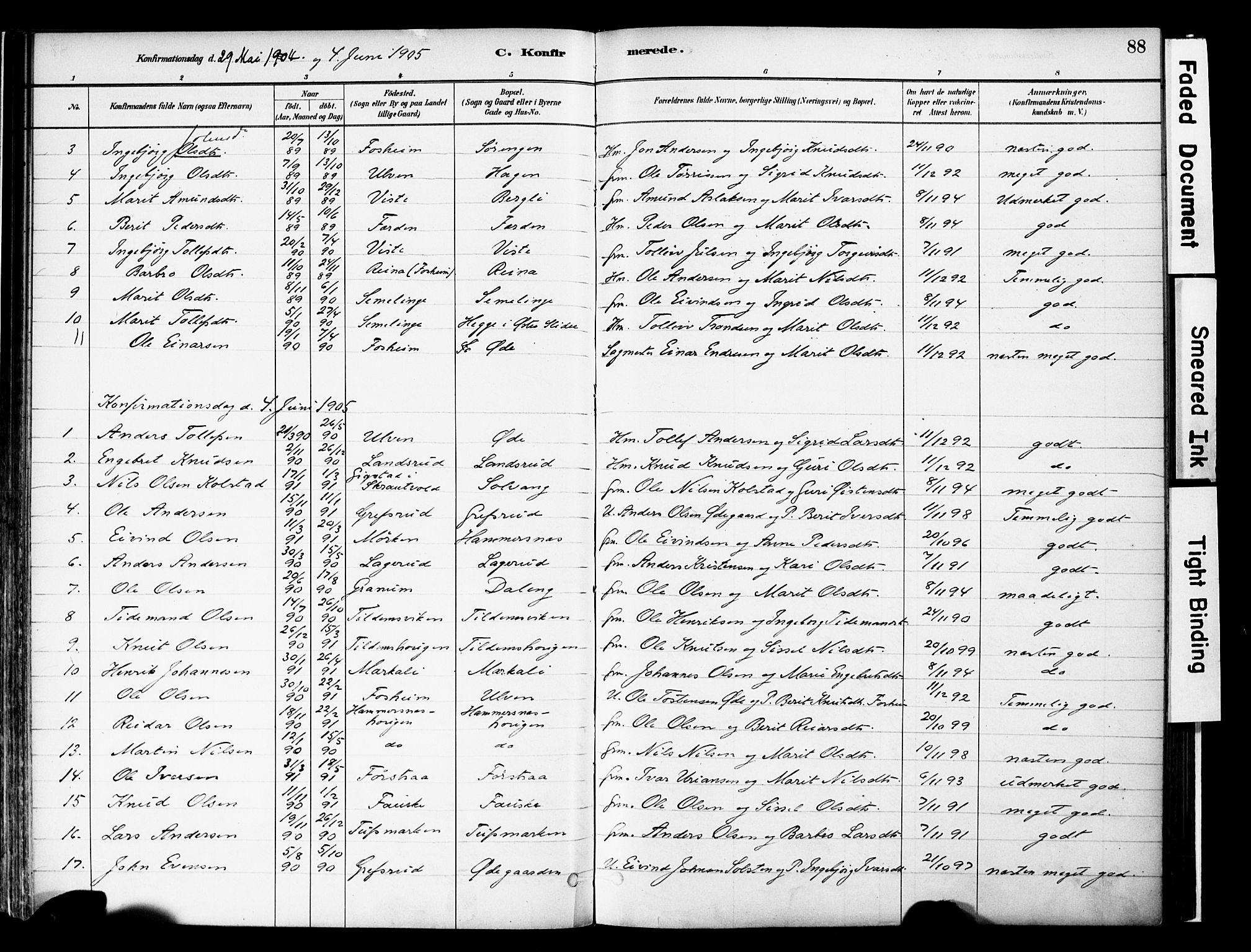 SAH, Vestre Slidre prestekontor, Ministerialbok nr. 6, 1881-1912, s. 88