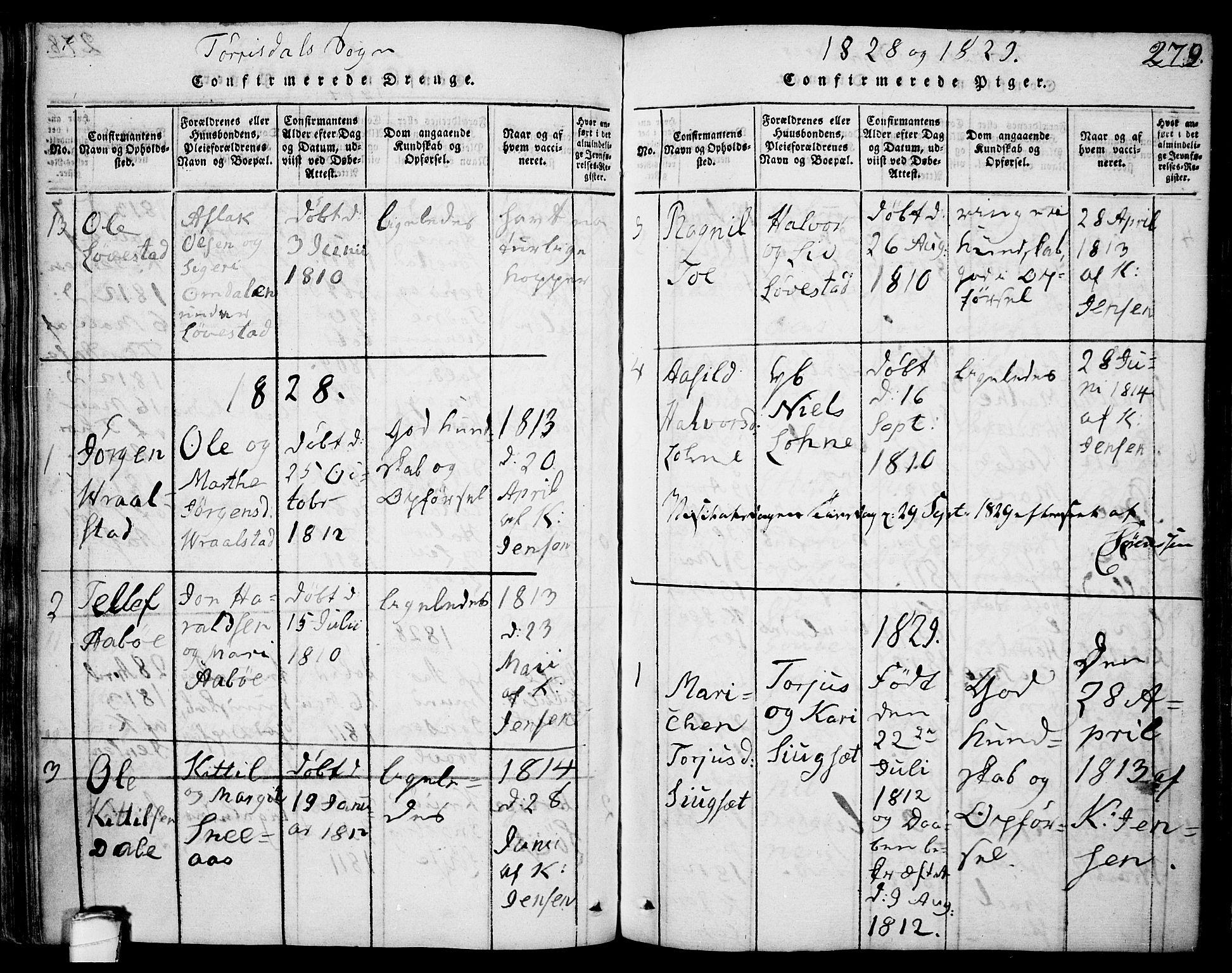 SAKO, Drangedal kirkebøker, F/Fa/L0005: Ministerialbok nr. 5 /2, 1814-1831, s. 279