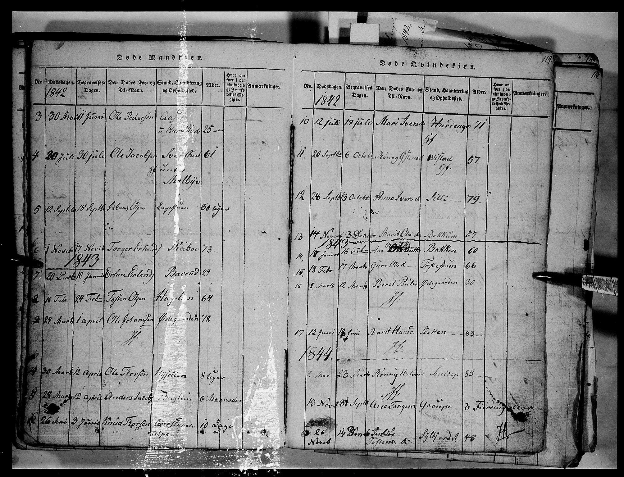 SAH, Fron prestekontor, H/Ha/Hab/L0003: Klokkerbok nr. 3, 1816-1850, s. 114