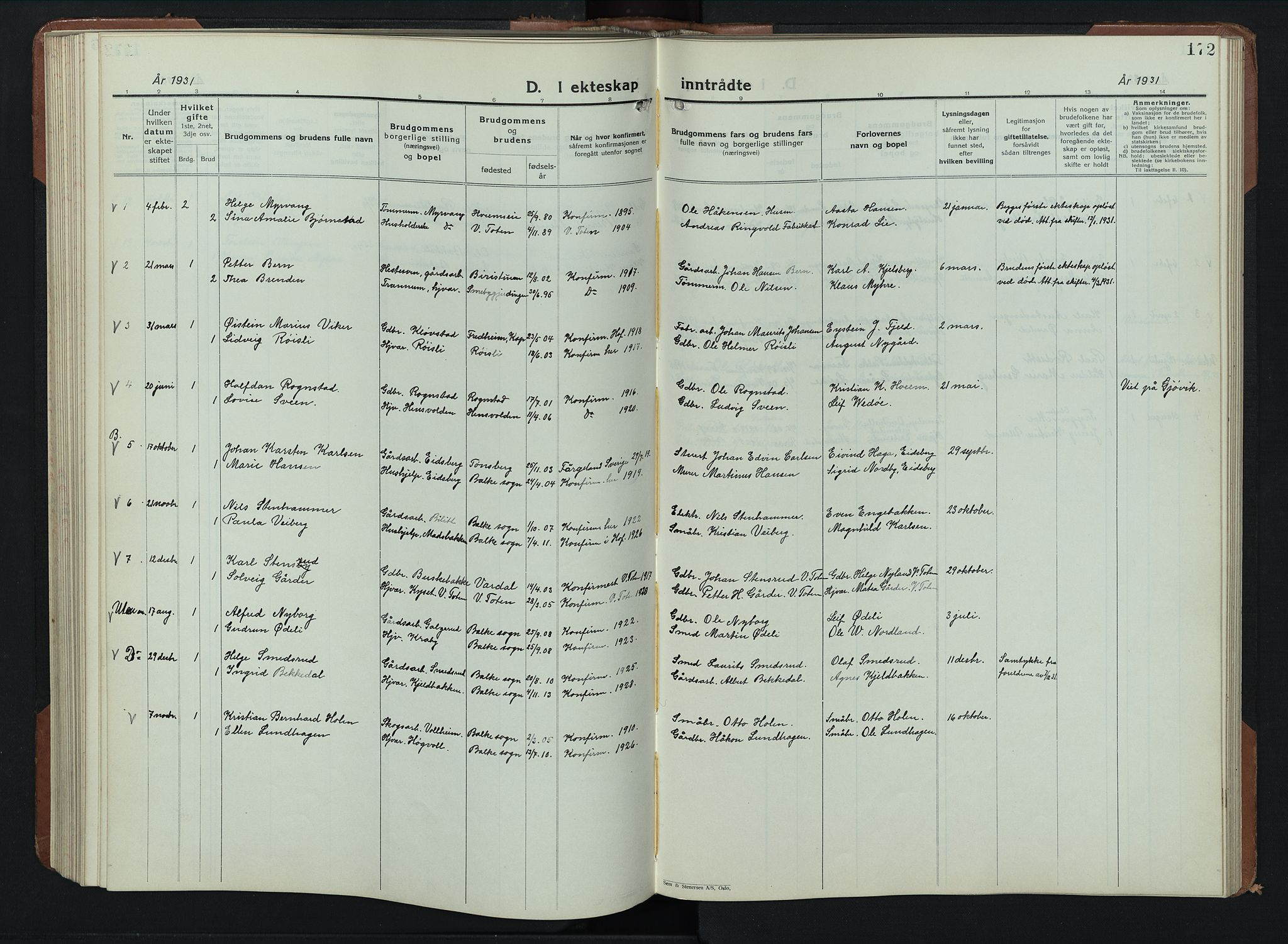 SAH, Balke prestekontor, Klokkerbok nr. 2, 1929-1951, s. 172