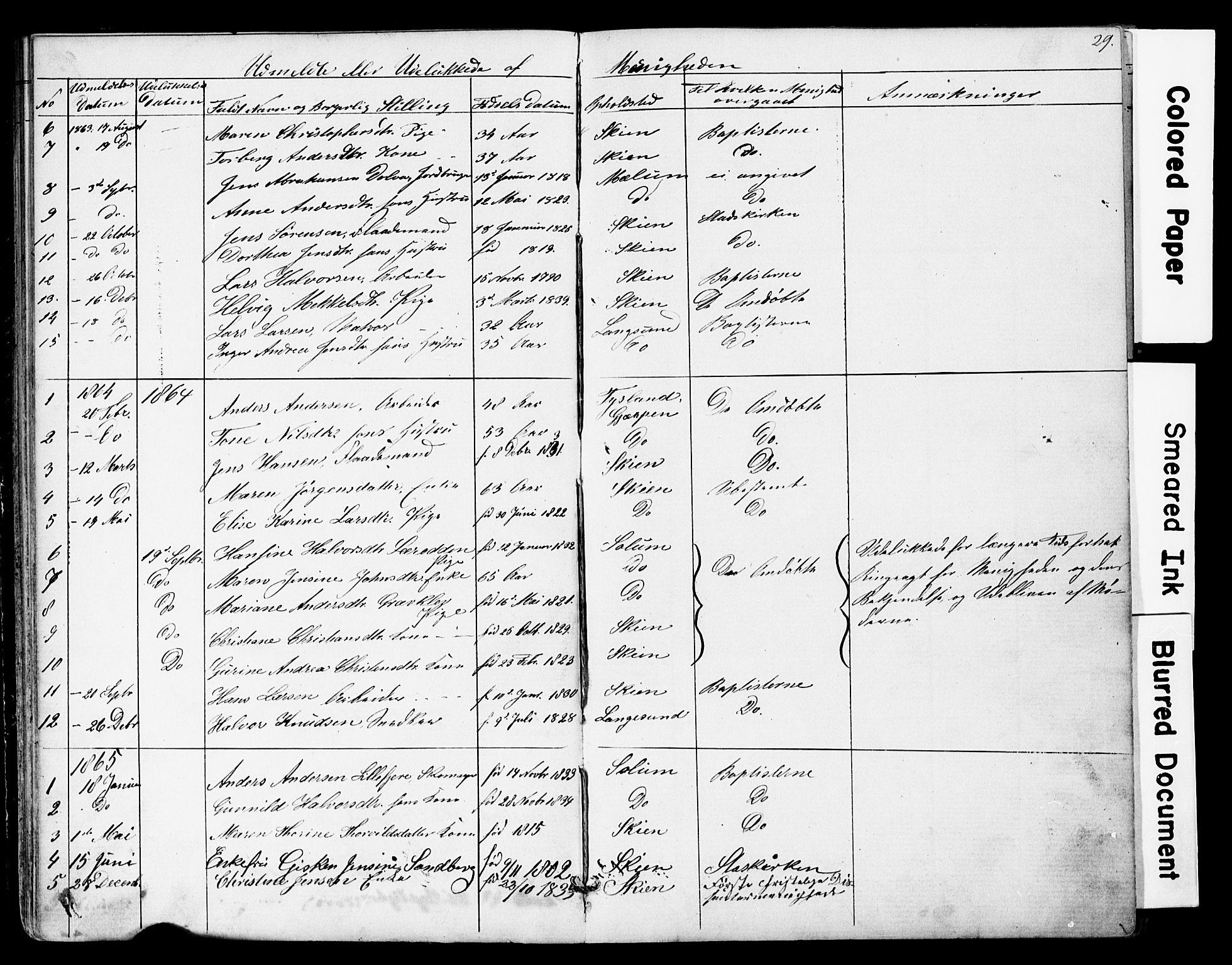 SAKO, Den frie apostolisk-kristelige menighet i Skien, F/Fa/L0001: Dissenterprotokoll nr. 1, 1856-1892, s. 29