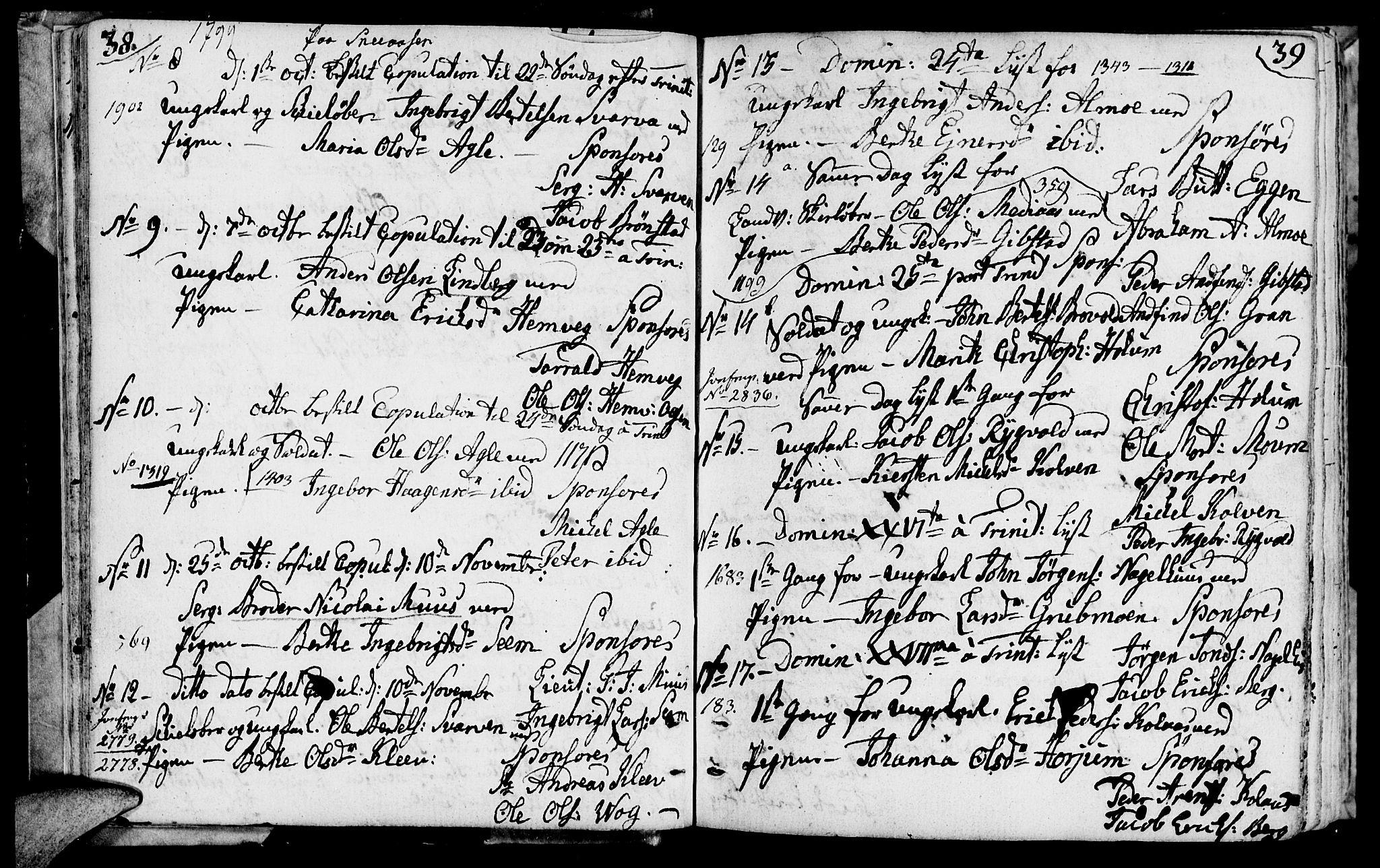SAT, Ministerialprotokoller, klokkerbøker og fødselsregistre - Nord-Trøndelag, 749/L0468: Ministerialbok nr. 749A02, 1787-1817, s. 38-39