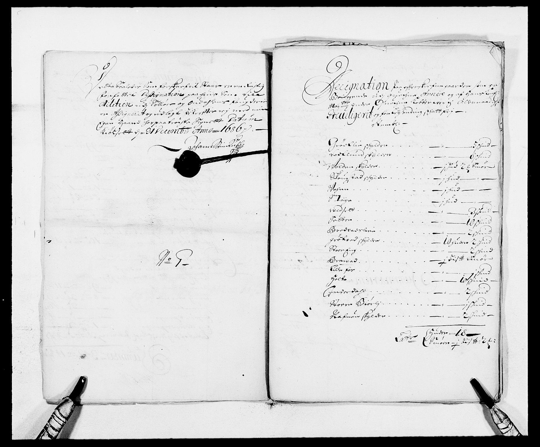 RA, Rentekammeret inntil 1814, Reviderte regnskaper, Fogderegnskap, R13/L0823: Fogderegnskap Solør, Odal og Østerdal, 1686, s. 277