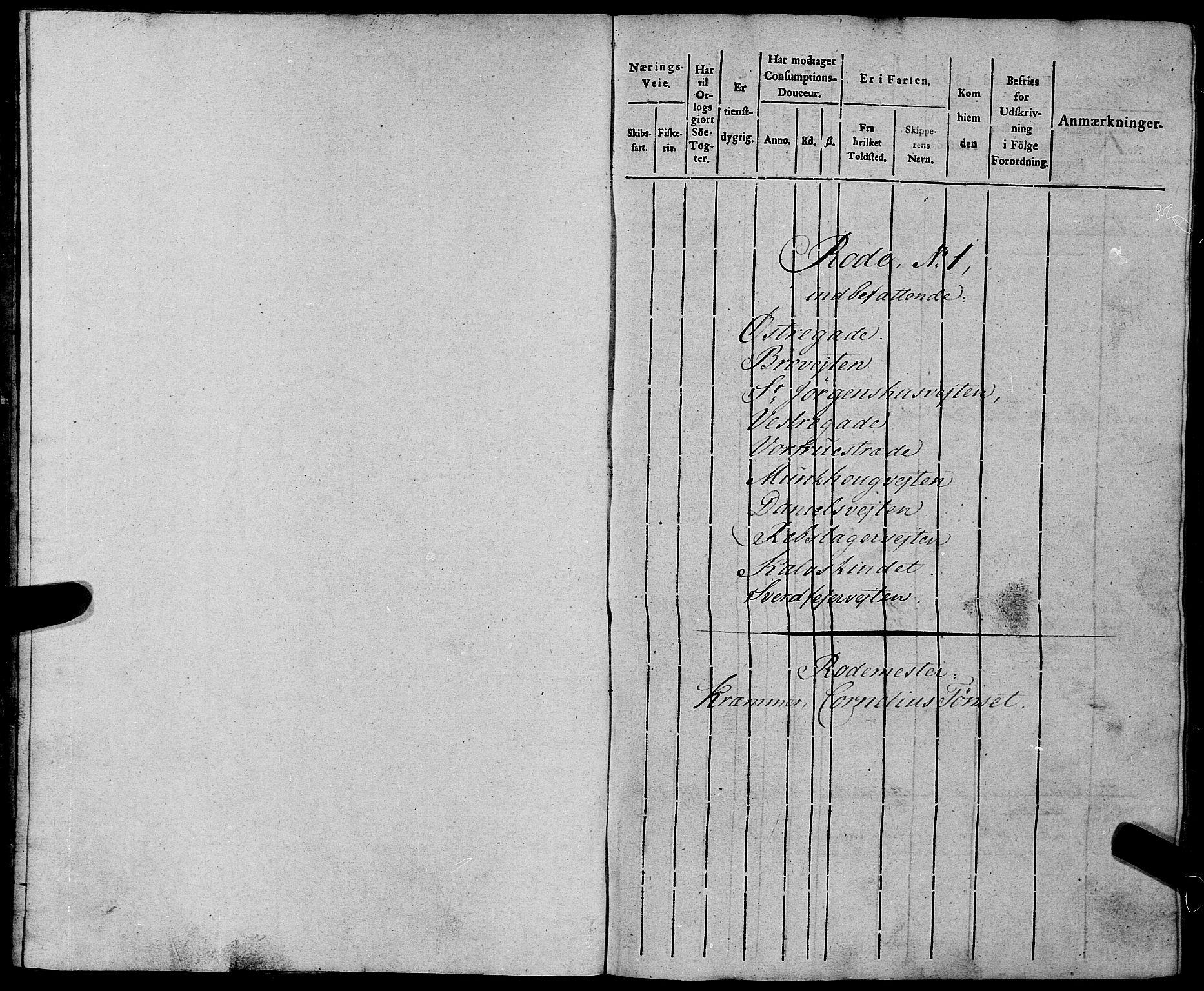 SAT, Sjøinnrulleringen - Trondhjemske distrikt, 01/L0012: Ruller for Trondhjem by, 1804-1809, s. 1