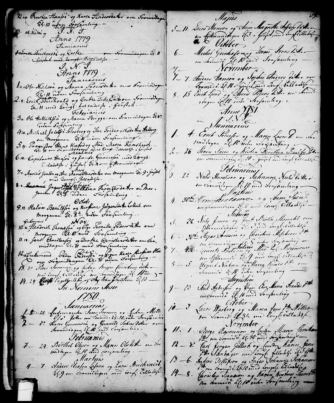 SAKO, Skien kirkebøker, G/Ga/L0001: Klokkerbok nr. 1, 1756-1791, s. 39