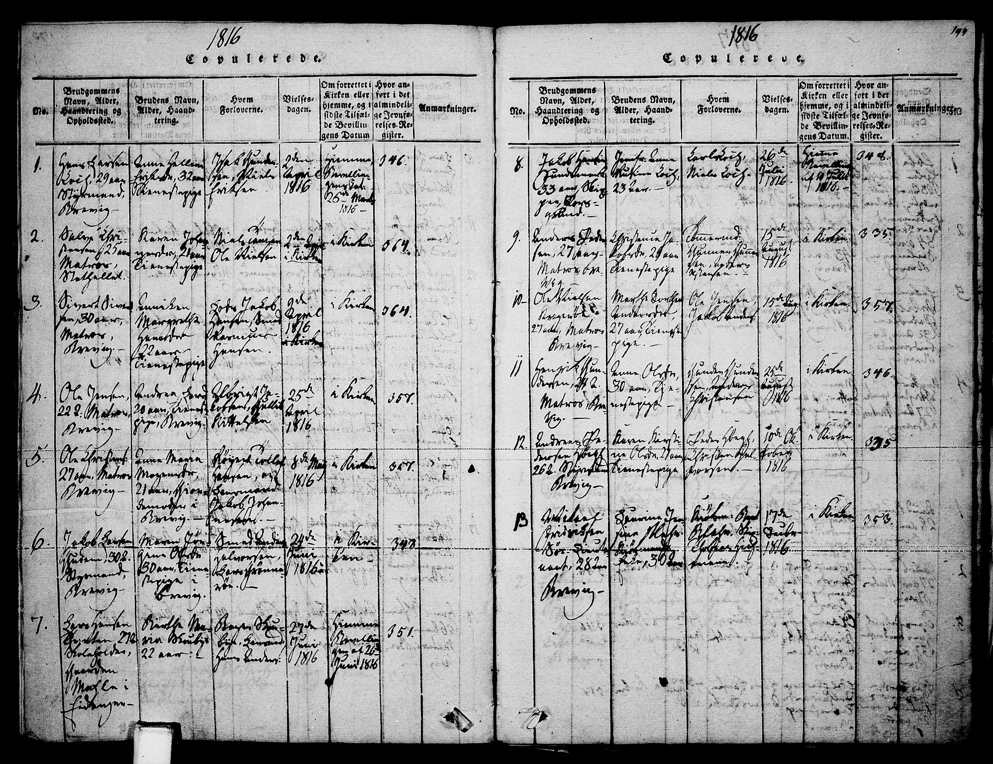 SAKO, Brevik kirkebøker, F/Fa/L0004: Ministerialbok nr. 4, 1814-1846, s. 194