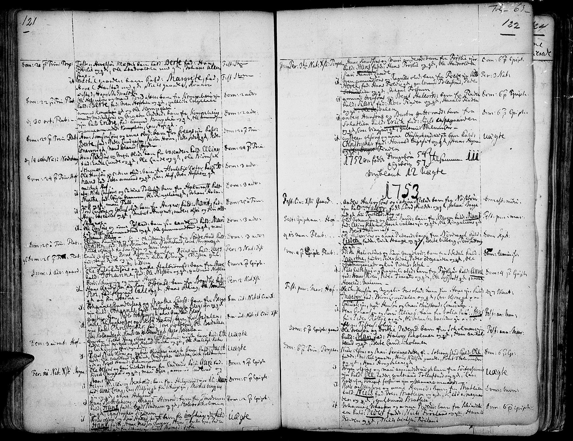 SAH, Land prestekontor, Ministerialbok nr. 2, 1733-1764, s. 121-122