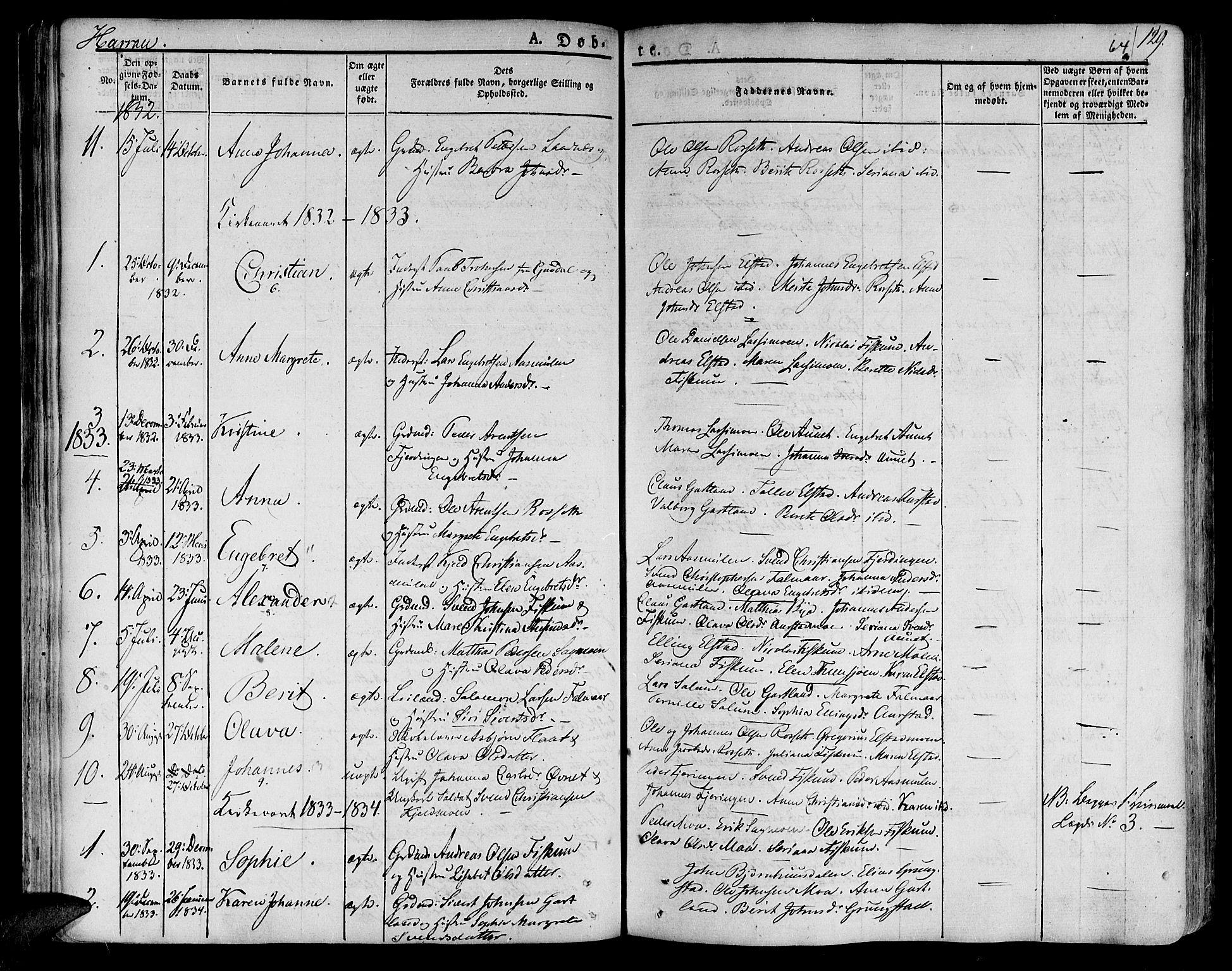 SAT, Ministerialprotokoller, klokkerbøker og fødselsregistre - Nord-Trøndelag, 758/L0510: Ministerialbok nr. 758A01 /3, 1821-1841, s. 64