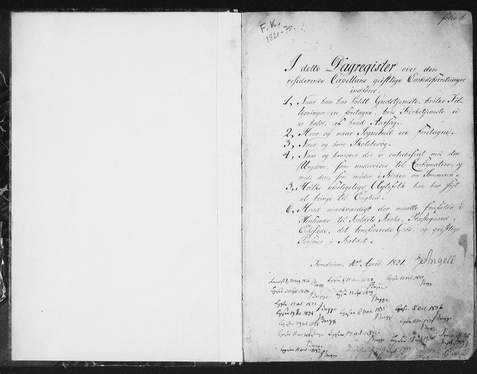 SAT, Ministerialprotokoller, klokkerbøker og fødselsregistre - Sør-Trøndelag, 602/L0127: Residerende kapellans bok nr. 602B01, 1821-1875, s. 1