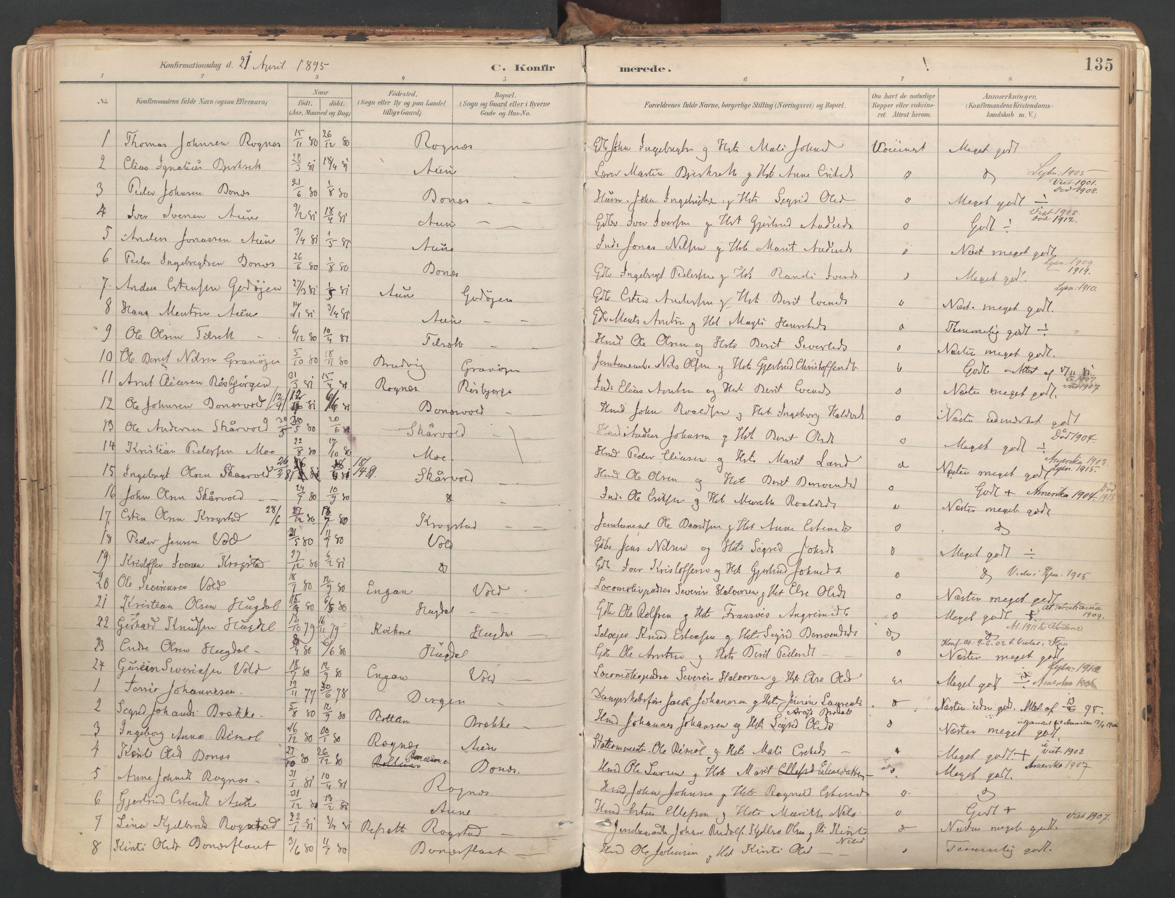 SAT, Ministerialprotokoller, klokkerbøker og fødselsregistre - Sør-Trøndelag, 687/L1004: Ministerialbok nr. 687A10, 1891-1923, s. 135
