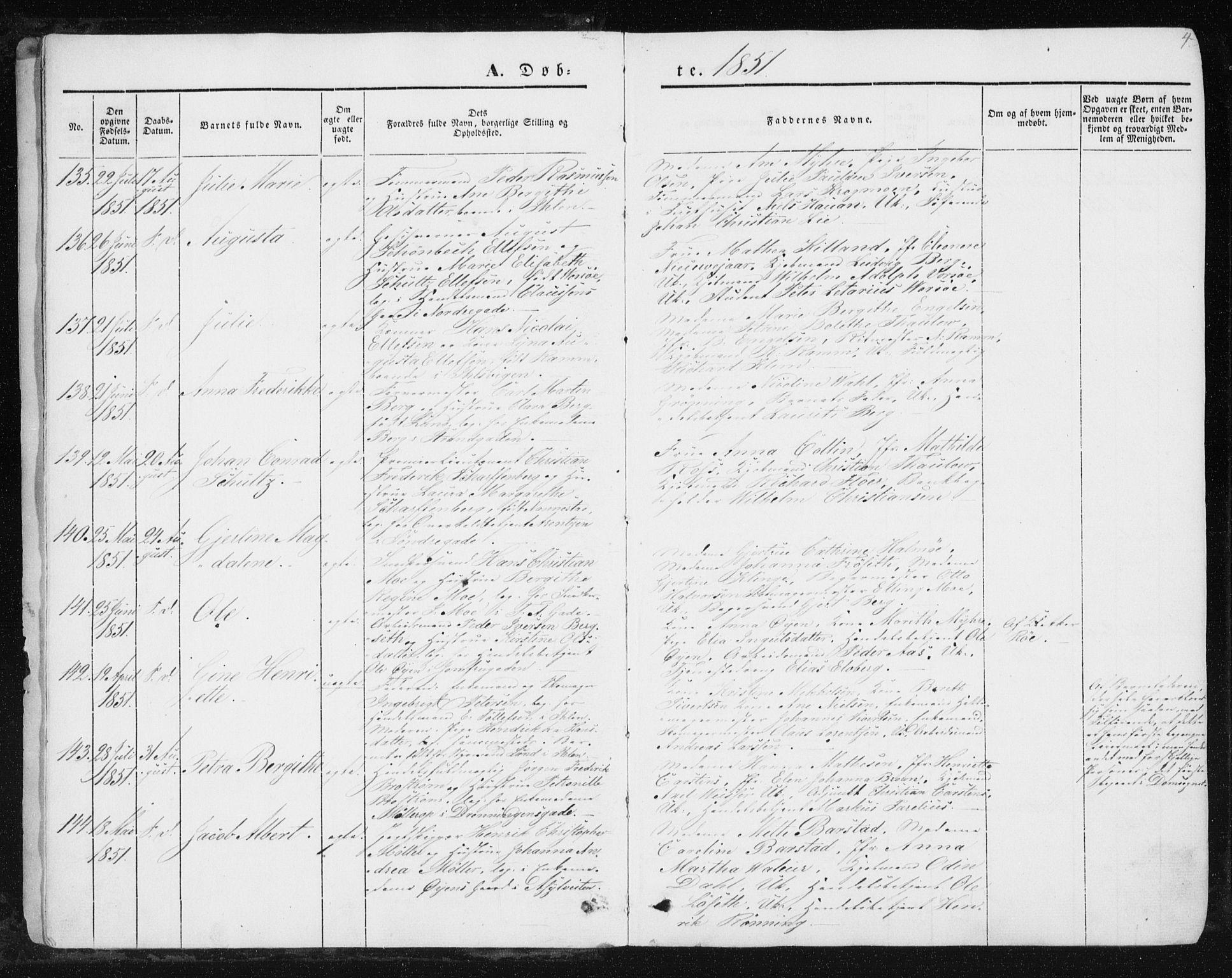 SAT, Ministerialprotokoller, klokkerbøker og fødselsregistre - Sør-Trøndelag, 602/L0112: Ministerialbok nr. 602A10, 1848-1859, s. 4