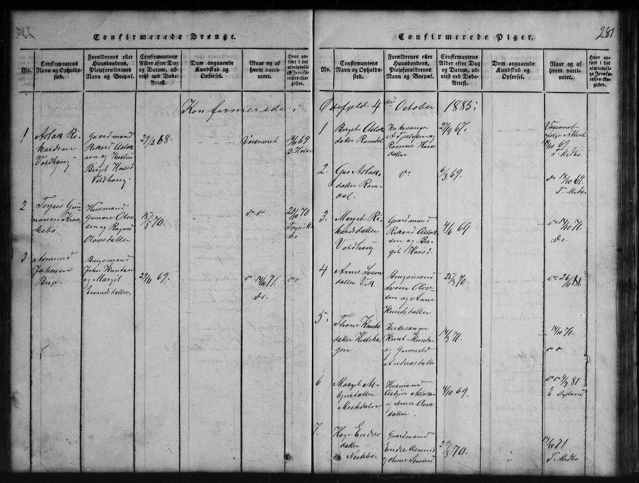 SAKO, Rauland kirkebøker, G/Gb/L0001: Klokkerbok nr. II 1, 1815-1886, s. 281