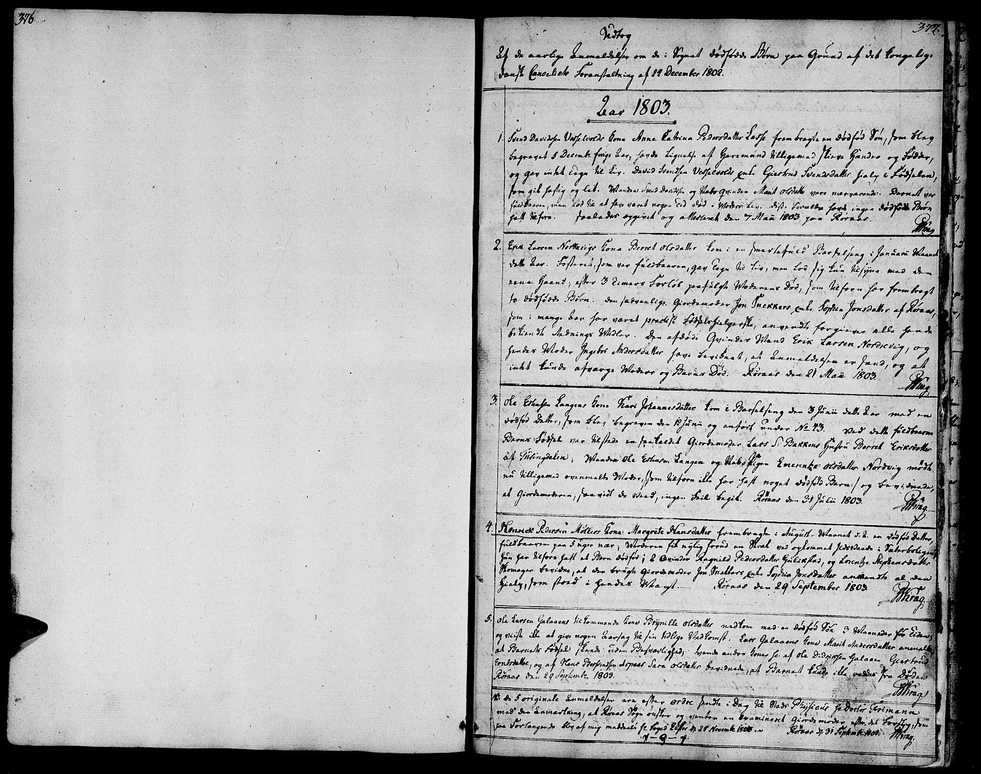 SAT, Ministerialprotokoller, klokkerbøker og fødselsregistre - Sør-Trøndelag, 681/L0927: Ministerialbok nr. 681A05, 1798-1808, s. 376-377