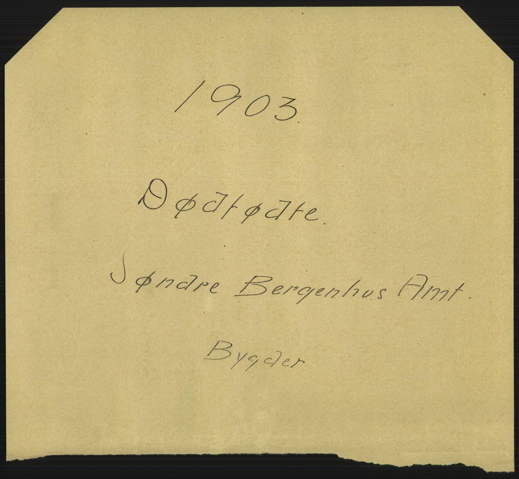 RA, Statistisk sentralbyrå, Sosiodemografiske emner, Befolkning, D/Df/Dfa/Dfaa/L0025: Søndre Bergenhus amt - Finnmarkens amt: Dødfødte. Bygder., 1903
