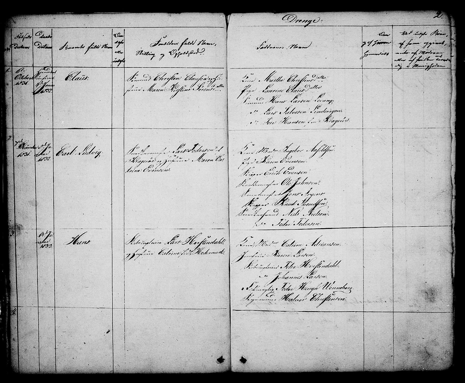 SAKO, Kragerø kirkebøker, G/Ga/L0003: Klokkerbok nr. 3, 1832-1852, s. 2