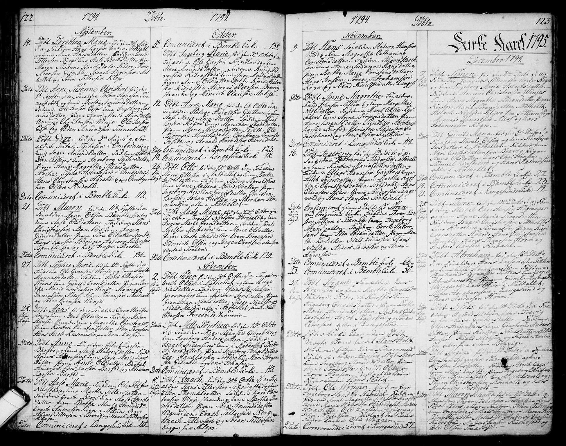 SAKO, Bamble kirkebøker, F/Fa/L0002: Ministerialbok nr. I 2, 1775-1814, s. 122-123