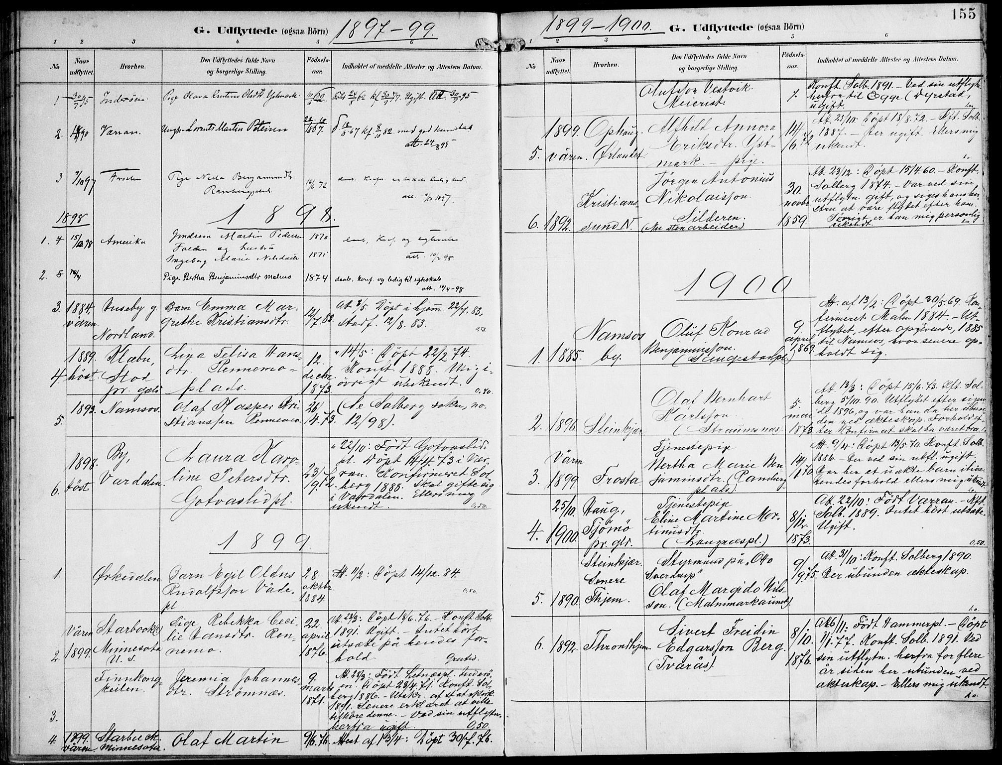 SAT, Ministerialprotokoller, klokkerbøker og fødselsregistre - Nord-Trøndelag, 745/L0430: Ministerialbok nr. 745A02, 1895-1913, s. 155