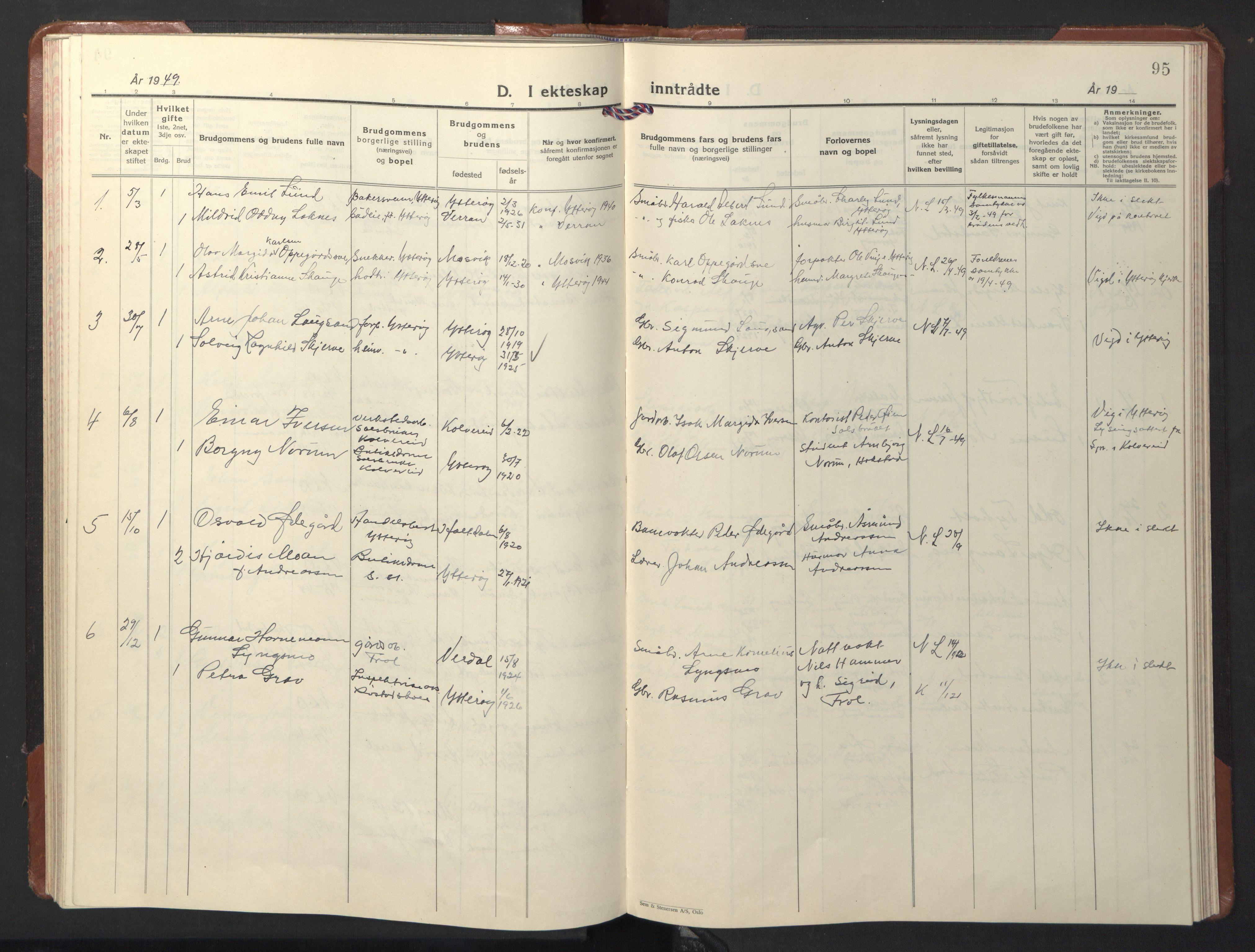 SAT, Ministerialprotokoller, klokkerbøker og fødselsregistre - Nord-Trøndelag, 722/L0227: Klokkerbok nr. 722C03, 1928-1958, s. 95
