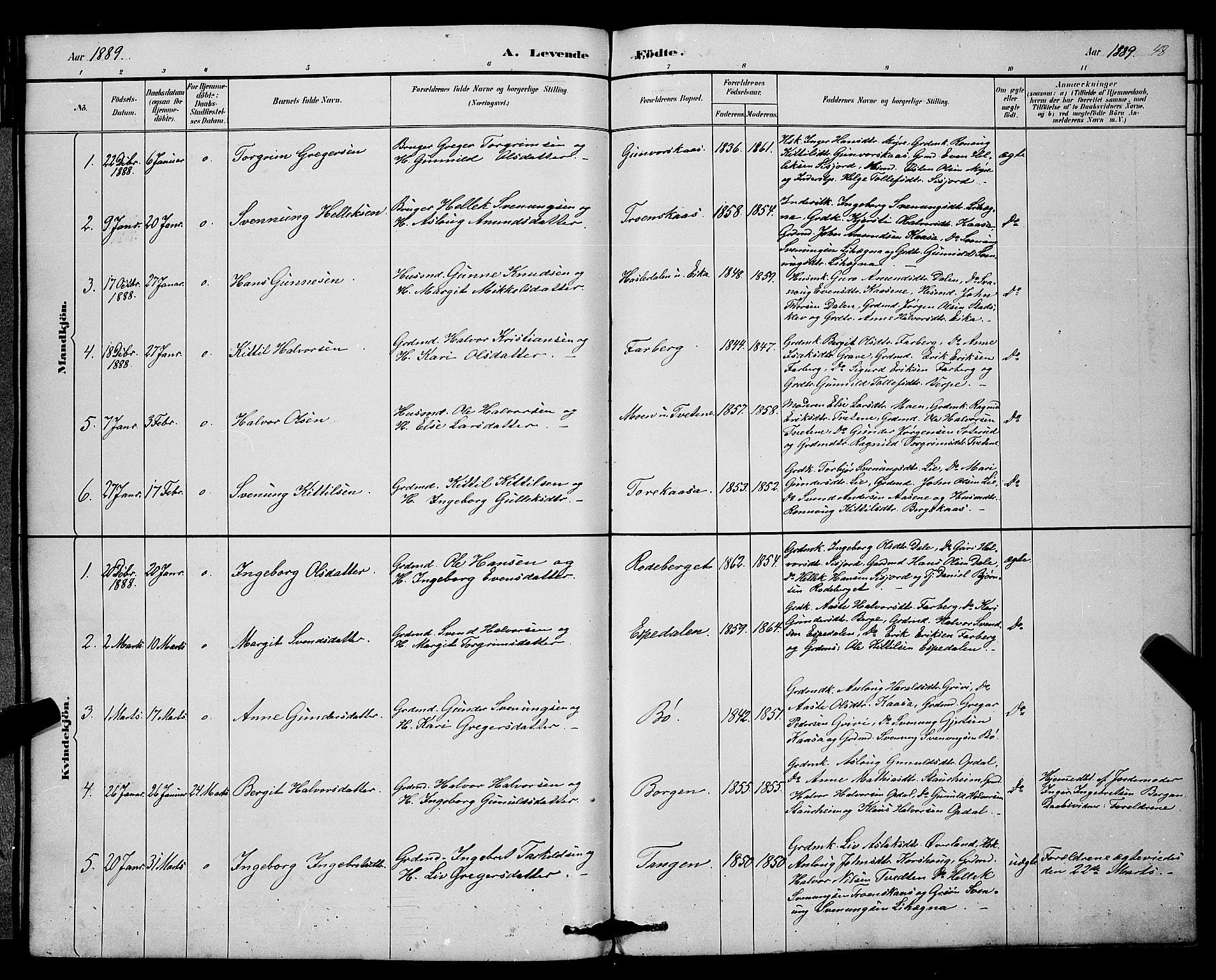 SAKO, Bø kirkebøker, G/Ga/L0005: Klokkerbok nr. 5, 1883-1897, s. 48