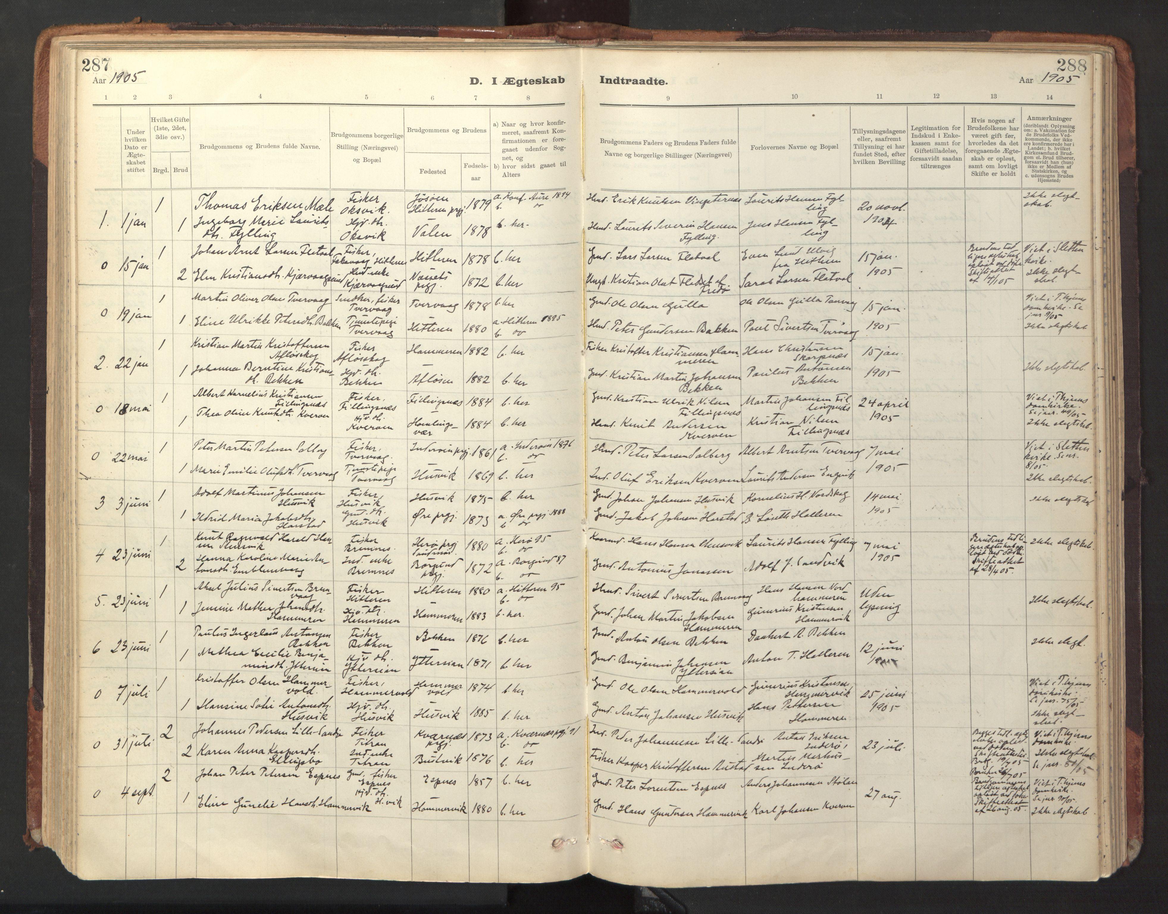 SAT, Ministerialprotokoller, klokkerbøker og fødselsregistre - Sør-Trøndelag, 641/L0596: Ministerialbok nr. 641A02, 1898-1915, s. 287-288