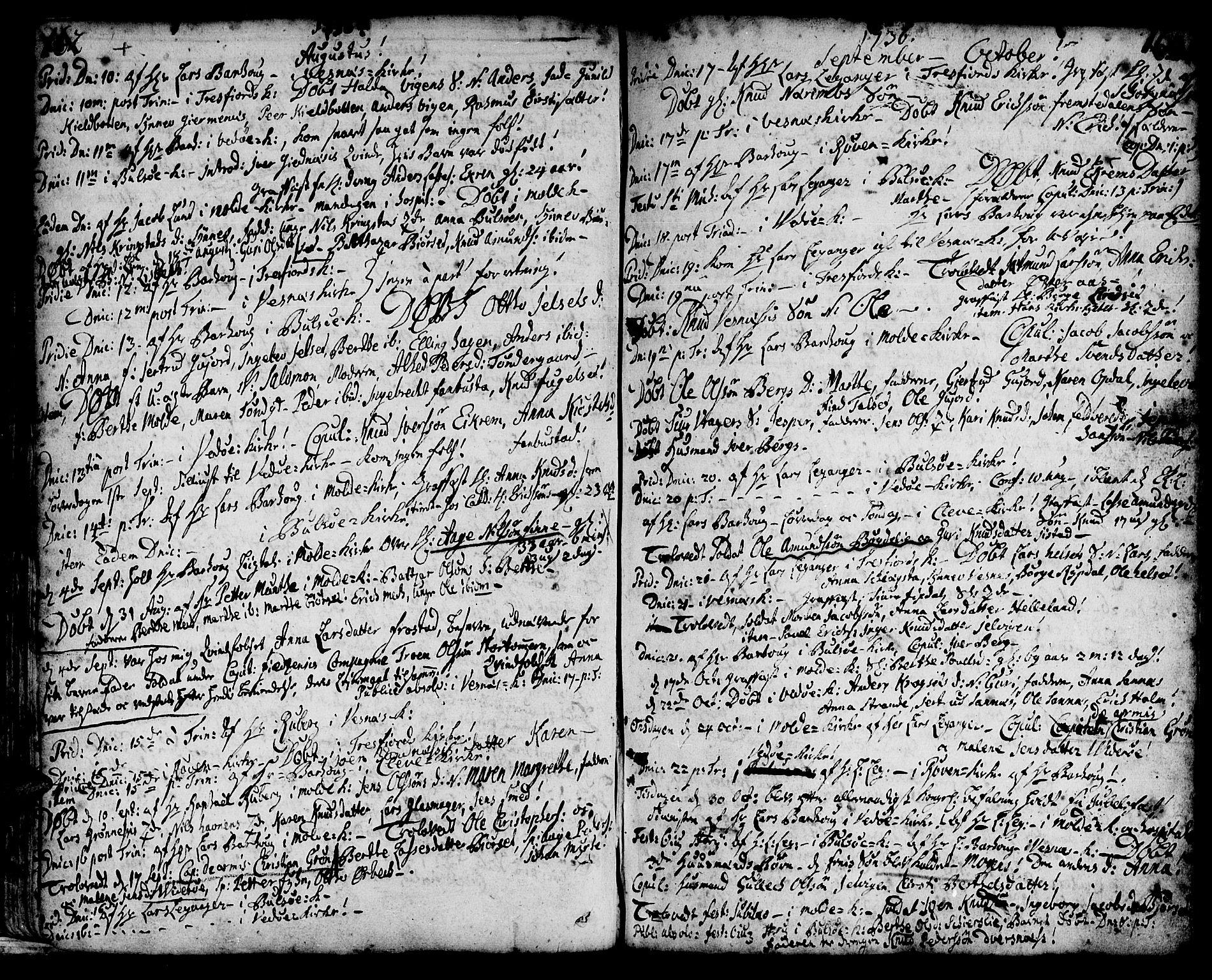 SAT, Ministerialprotokoller, klokkerbøker og fødselsregistre - Møre og Romsdal, 547/L0599: Ministerialbok nr. 547A01, 1721-1764, s. 164-165