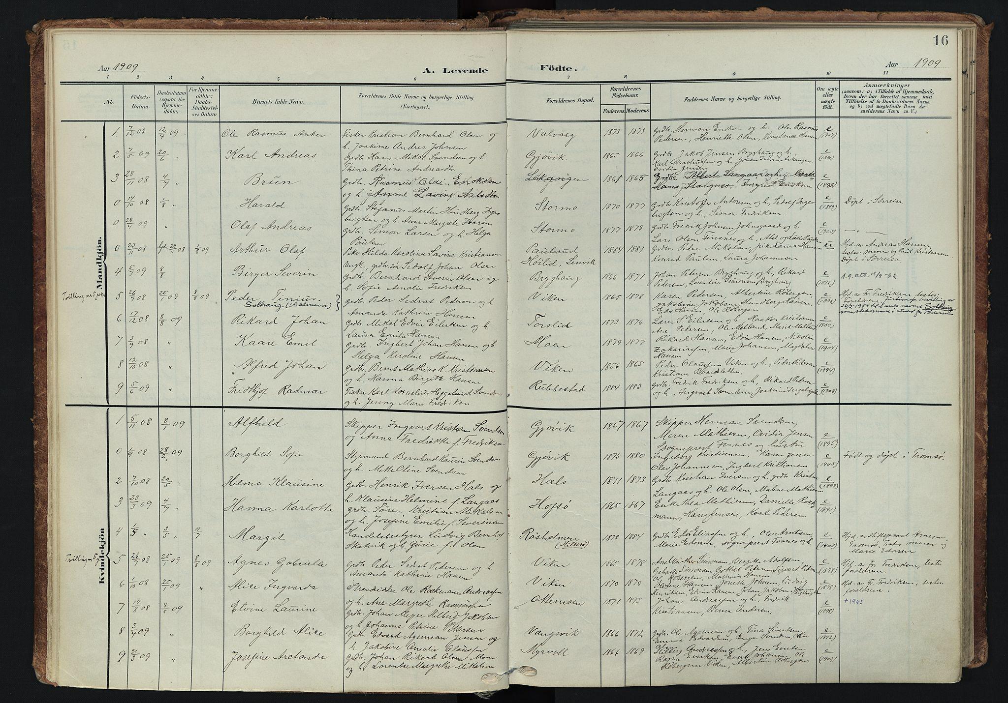 SATØ, Tranøy sokneprestkontor, I/Ia/Iaa/L0014kirke: Ministerialbok nr. 14, 1905-1919, s. 16