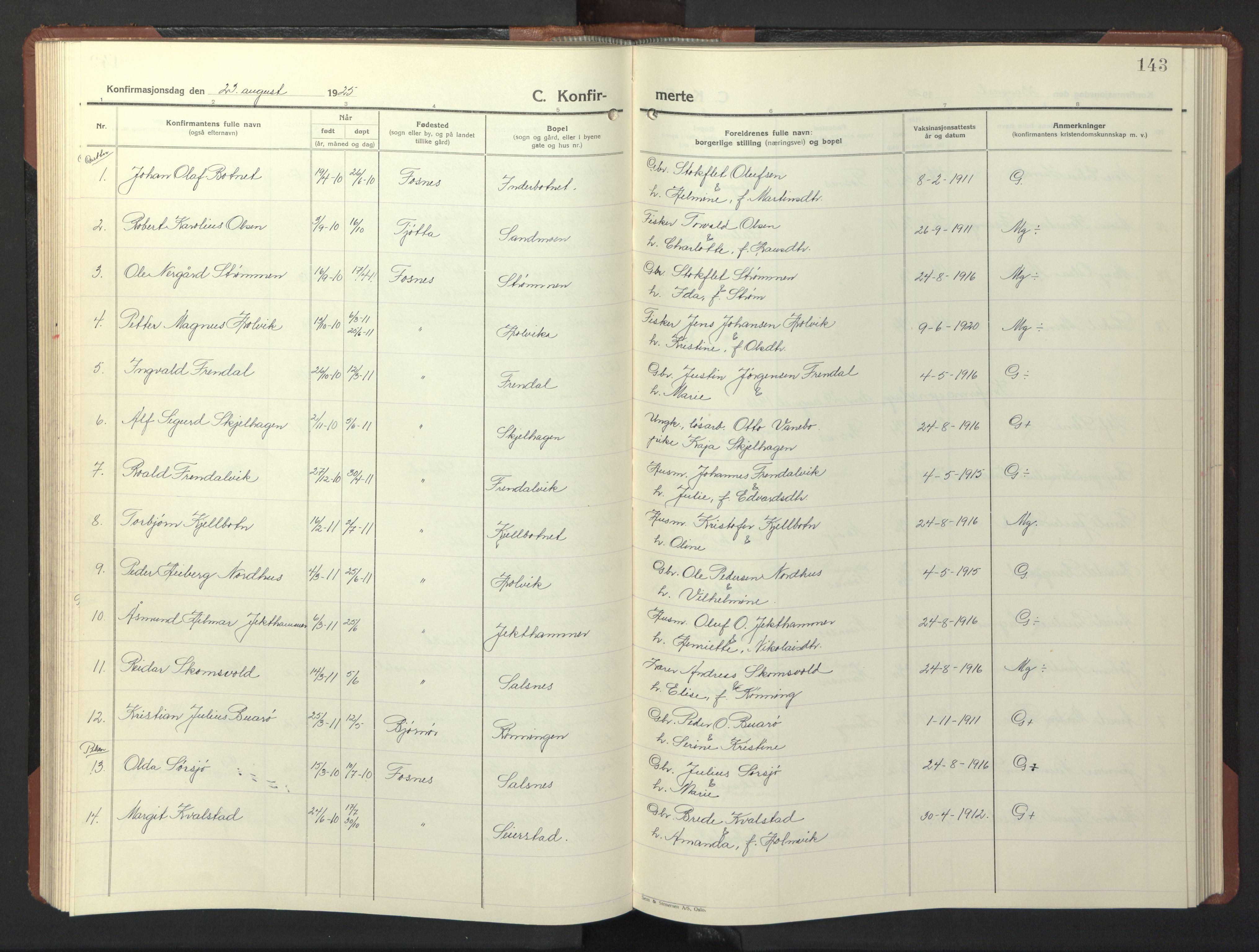 SAT, Ministerialprotokoller, klokkerbøker og fødselsregistre - Nord-Trøndelag, 773/L0625: Klokkerbok nr. 773C01, 1910-1952, s. 143