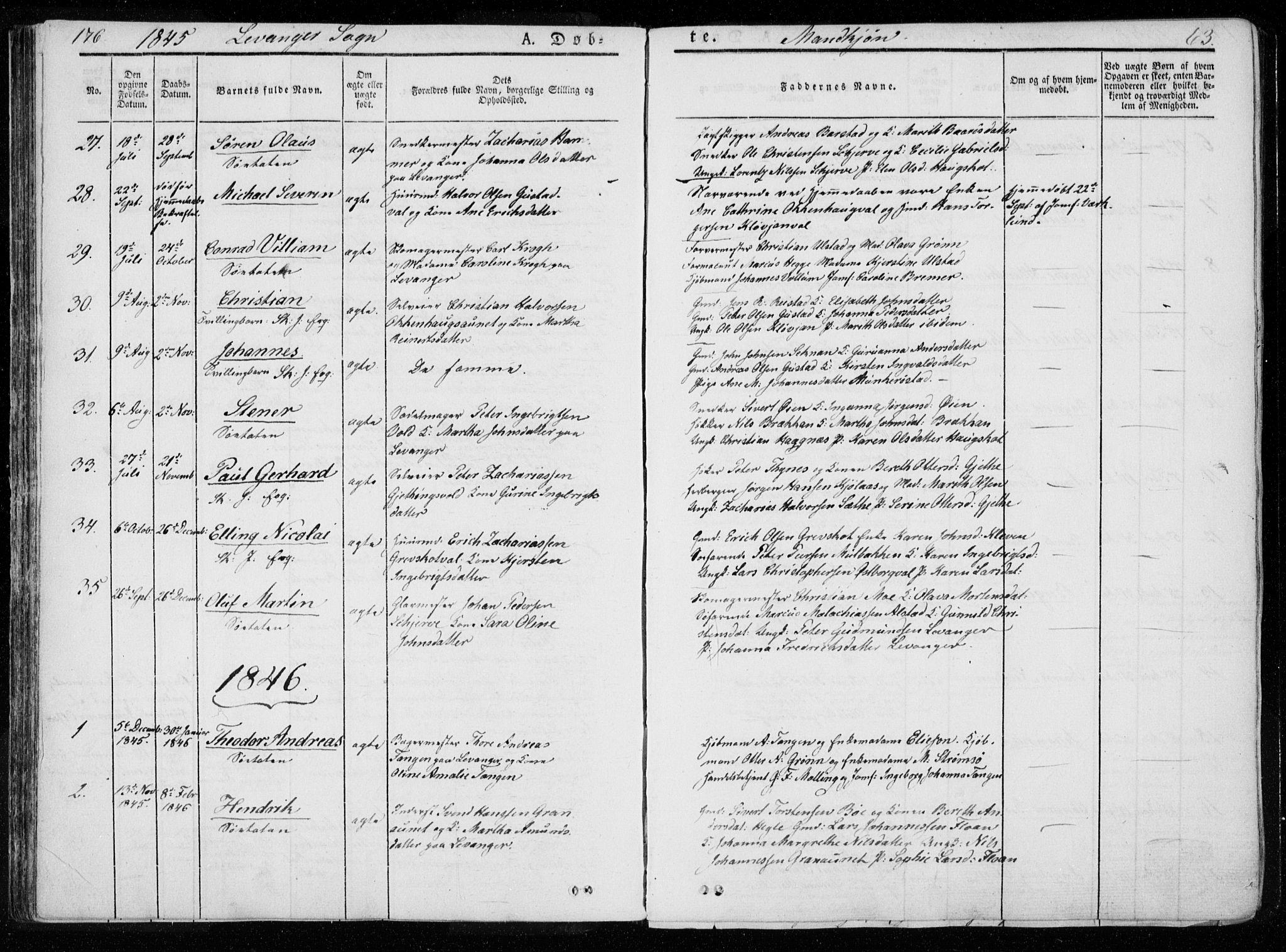 SAT, Ministerialprotokoller, klokkerbøker og fødselsregistre - Nord-Trøndelag, 720/L0183: Ministerialbok nr. 720A01, 1836-1855, s. 63