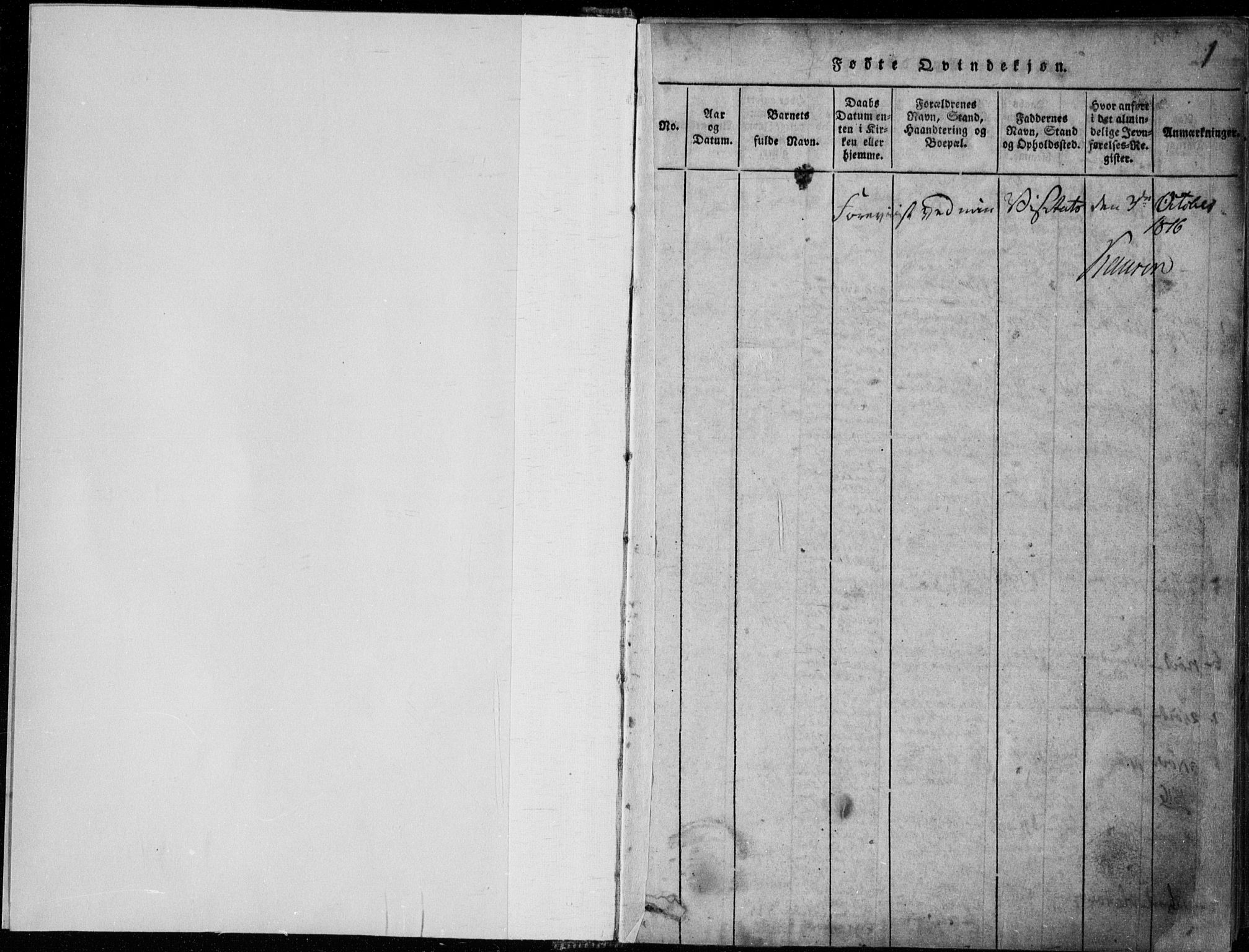 SAKO, Rauland kirkebøker, F/Fa/L0001: Ministerialbok nr. 1, 1814-1859, s. 1