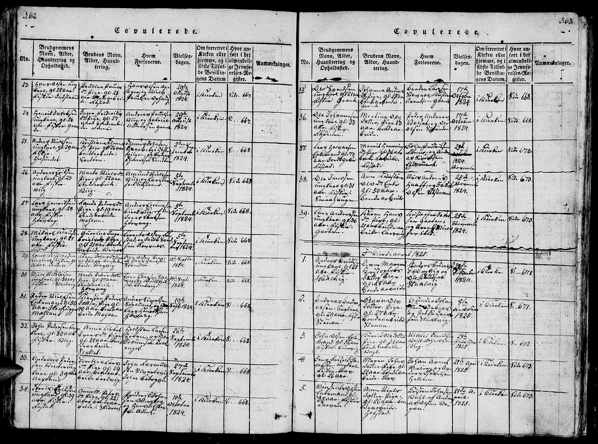 SAT, Ministerialprotokoller, klokkerbøker og fødselsregistre - Sør-Trøndelag, 659/L0744: Klokkerbok nr. 659C01, 1818-1825, s. 362-363