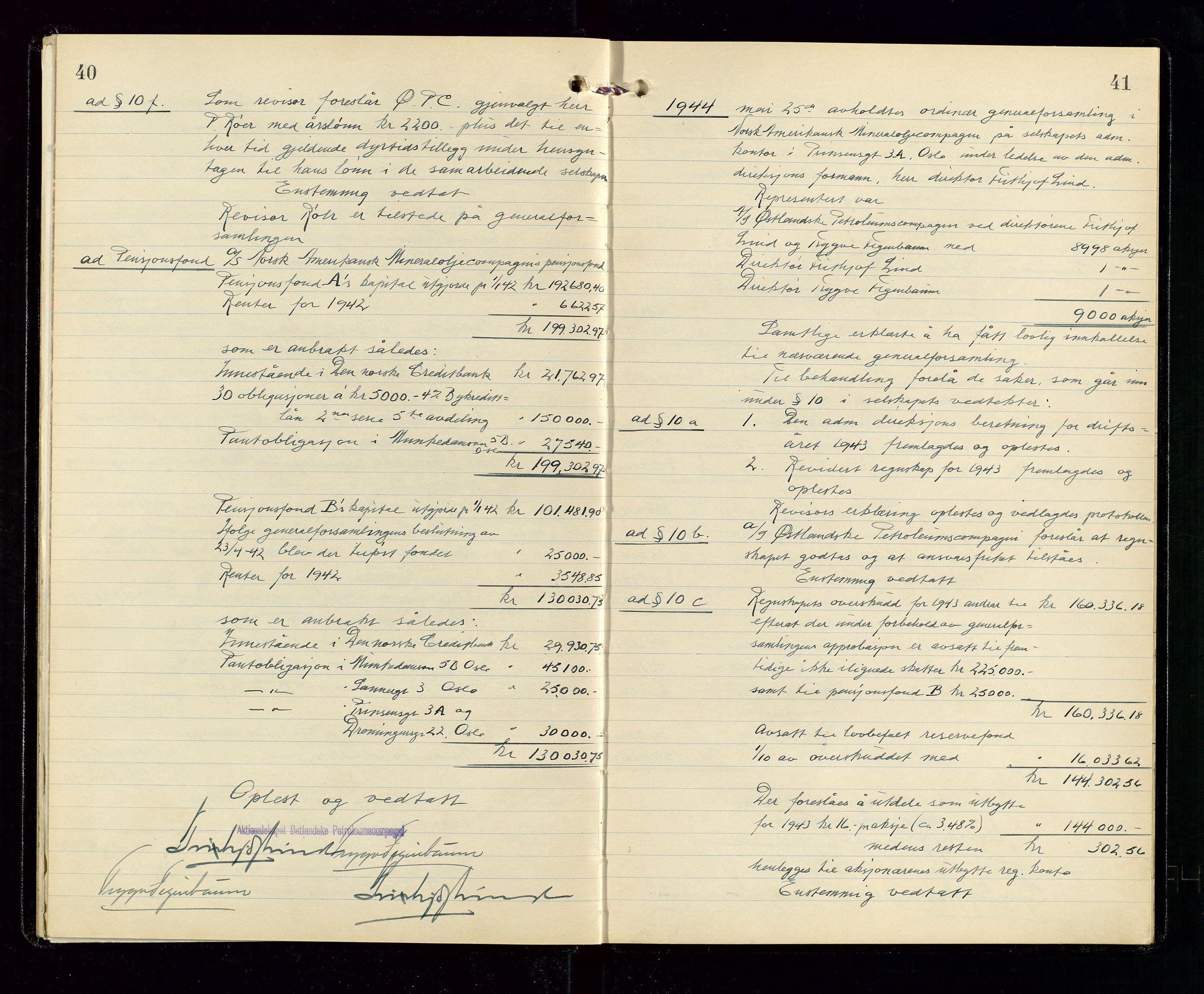 SAST, Pa 1536 - Esso Norge as, Vallø Oljeraffineri og lager, A/Aa/L0001: Generalforsamlinger og bilag til generalforsamlinger, 1934-1950, s. 40-41