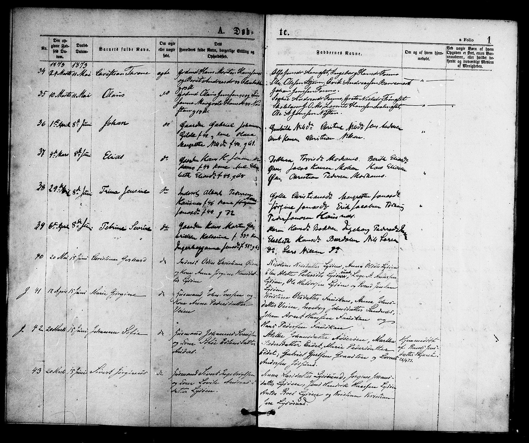 SAT, Ministerialprotokoller, klokkerbøker og fødselsregistre - Sør-Trøndelag, 655/L0679: Ministerialbok nr. 655A08, 1873-1879, s. 1