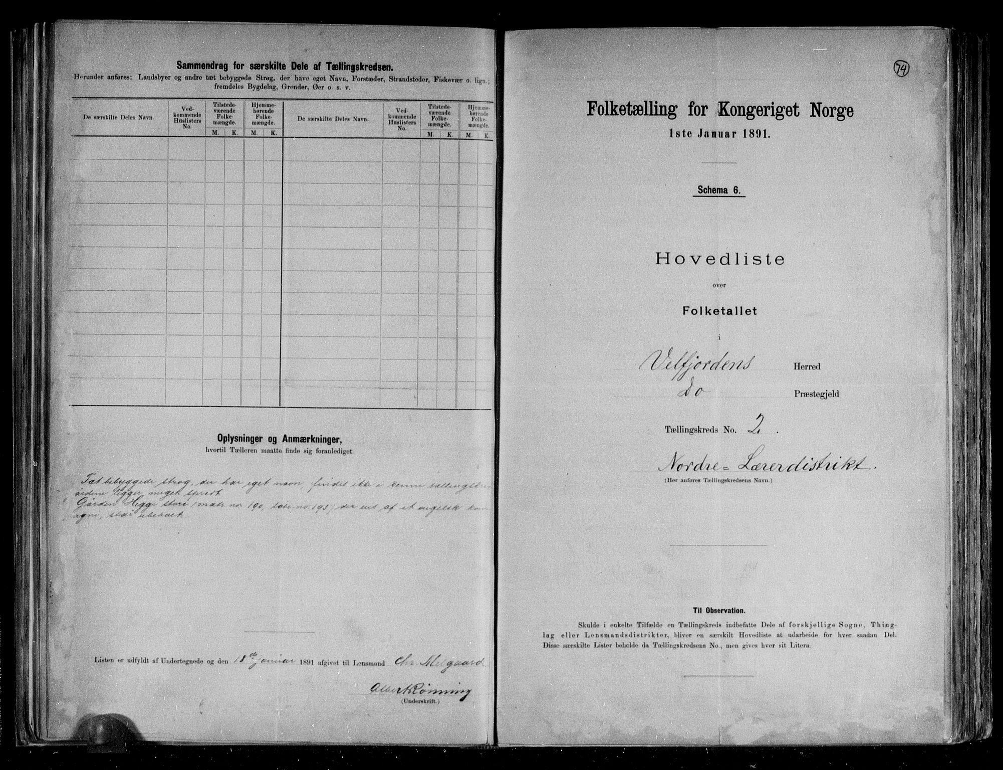 RA, Folketelling 1891 for 1813 Velfjord herred, 1891, s. 7