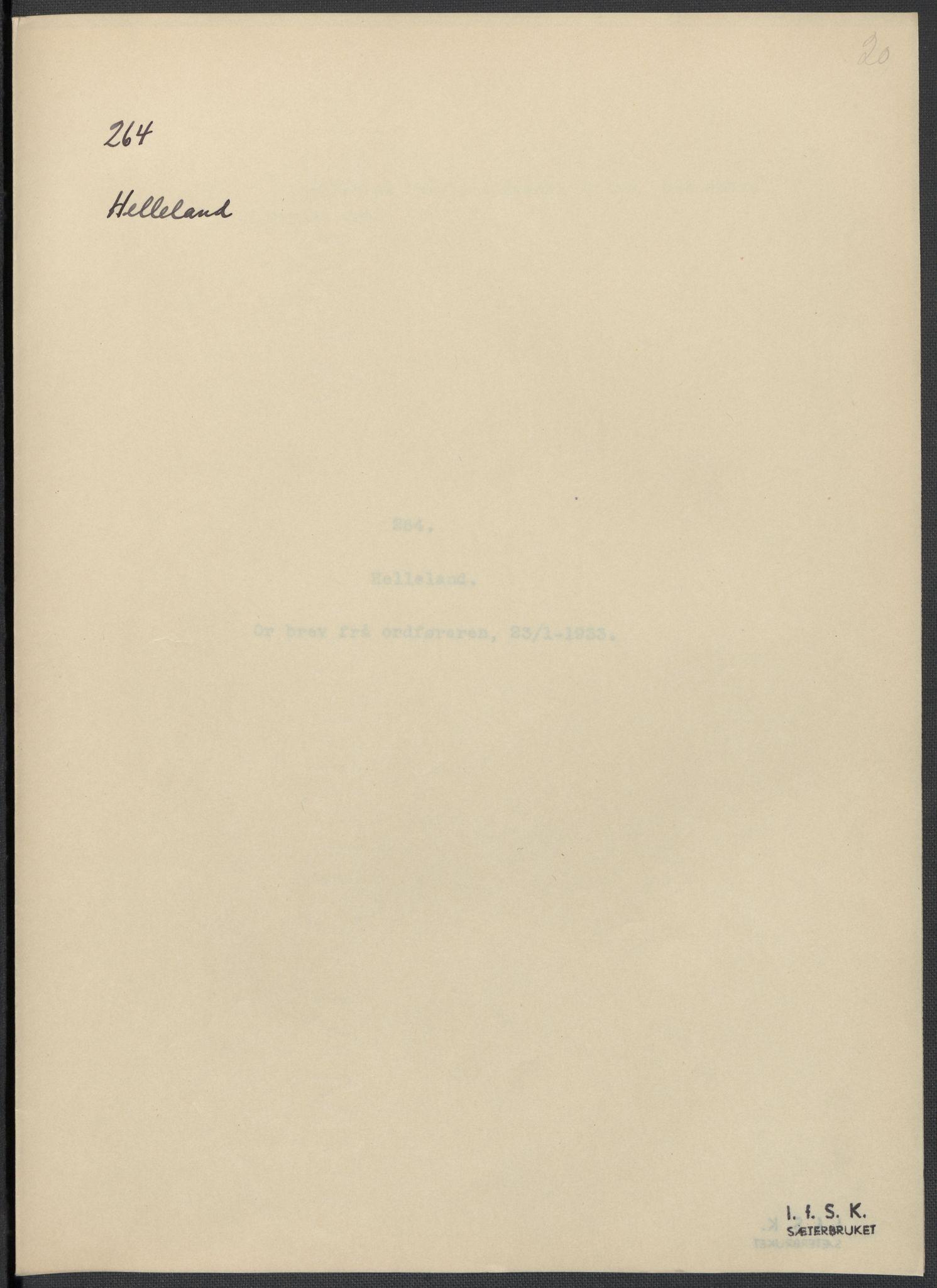 RA, Instituttet for sammenlignende kulturforskning, F/Fc/L0009: Eske B9:, 1932-1935, s. 20