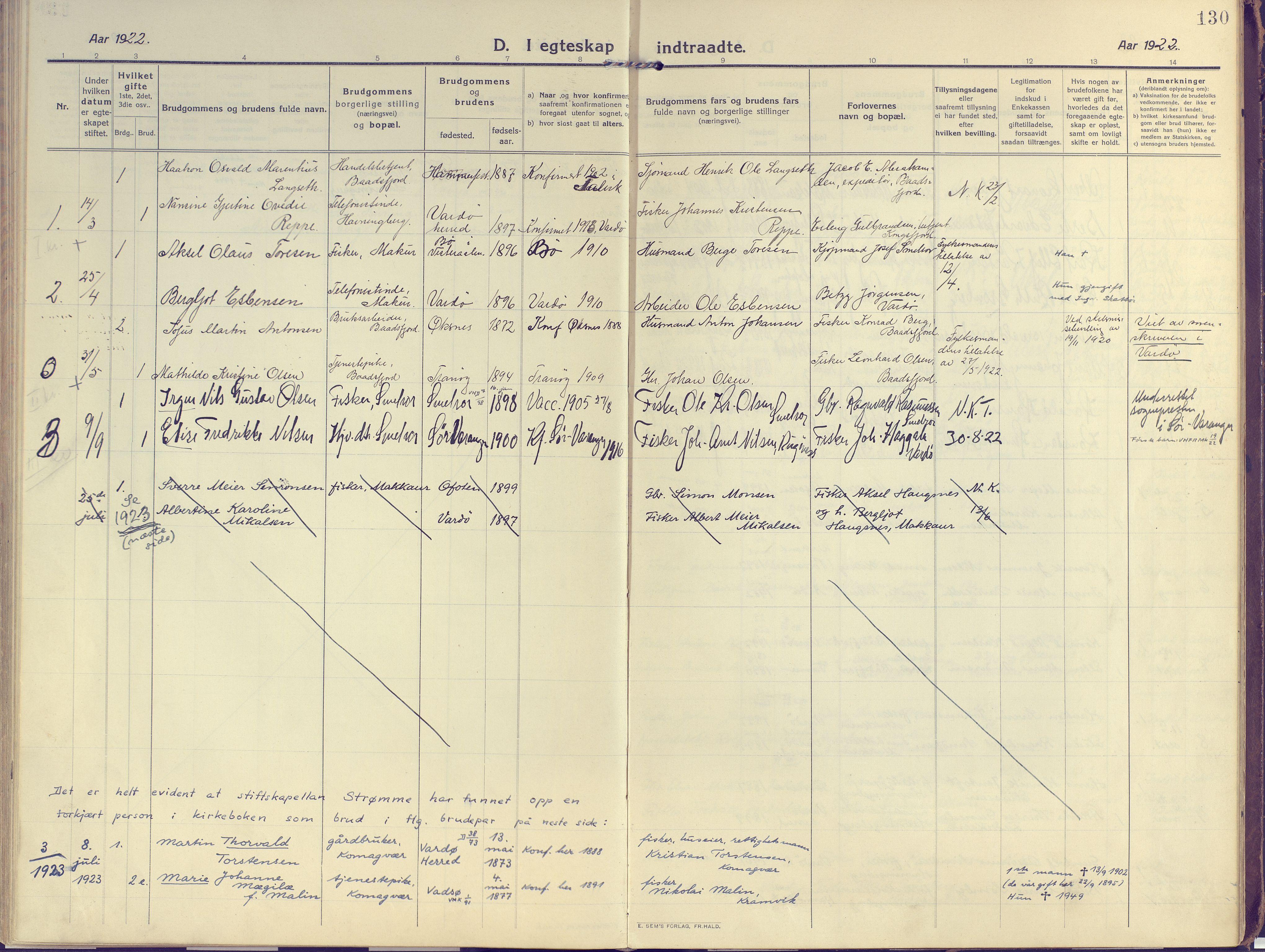SATØ, Vardø sokneprestkontor, H/Ha/L0013kirke: Ministerialbok nr. 13, 1912-1928, s. 130