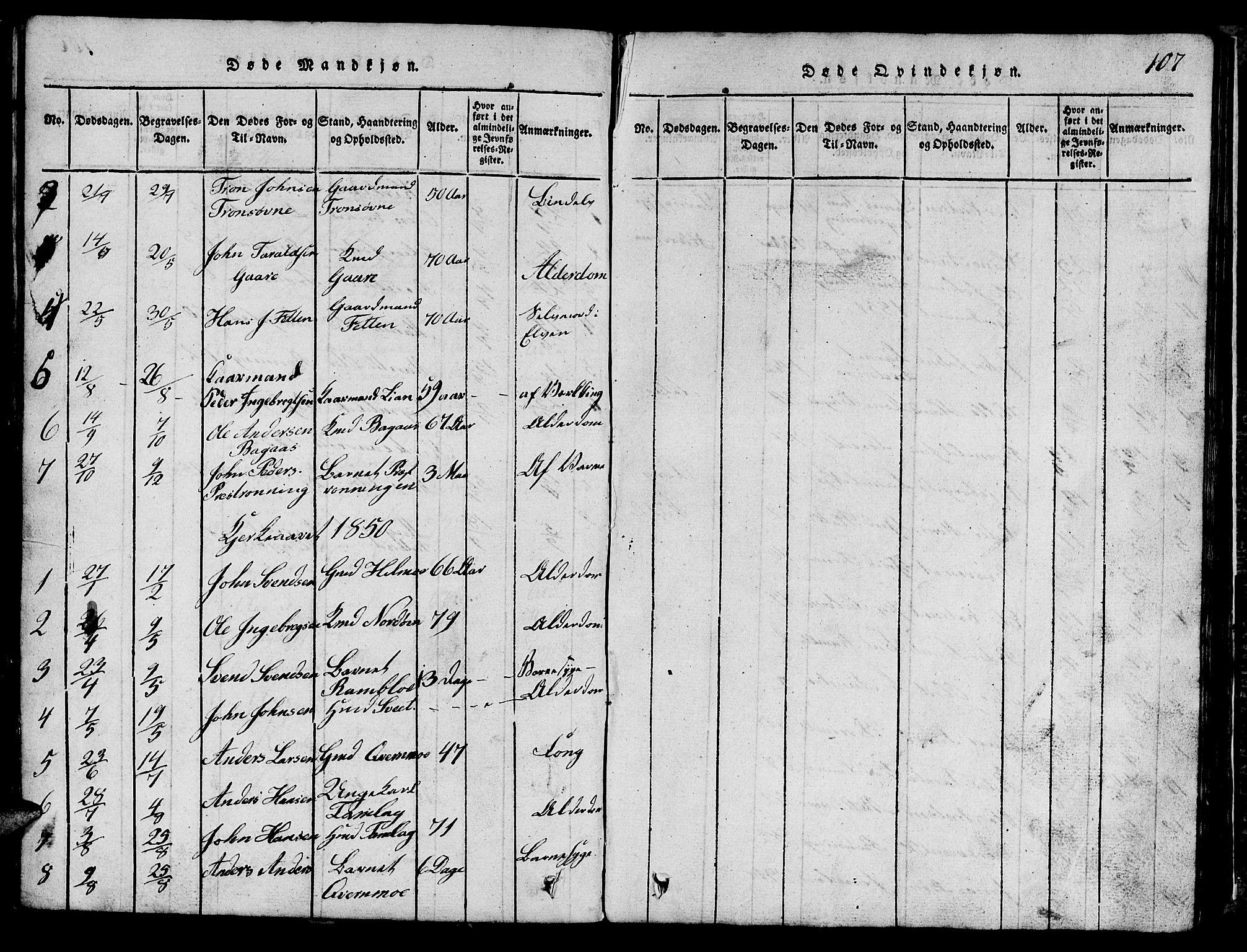 SAT, Ministerialprotokoller, klokkerbøker og fødselsregistre - Sør-Trøndelag, 685/L0976: Klokkerbok nr. 685C01, 1817-1878, s. 107