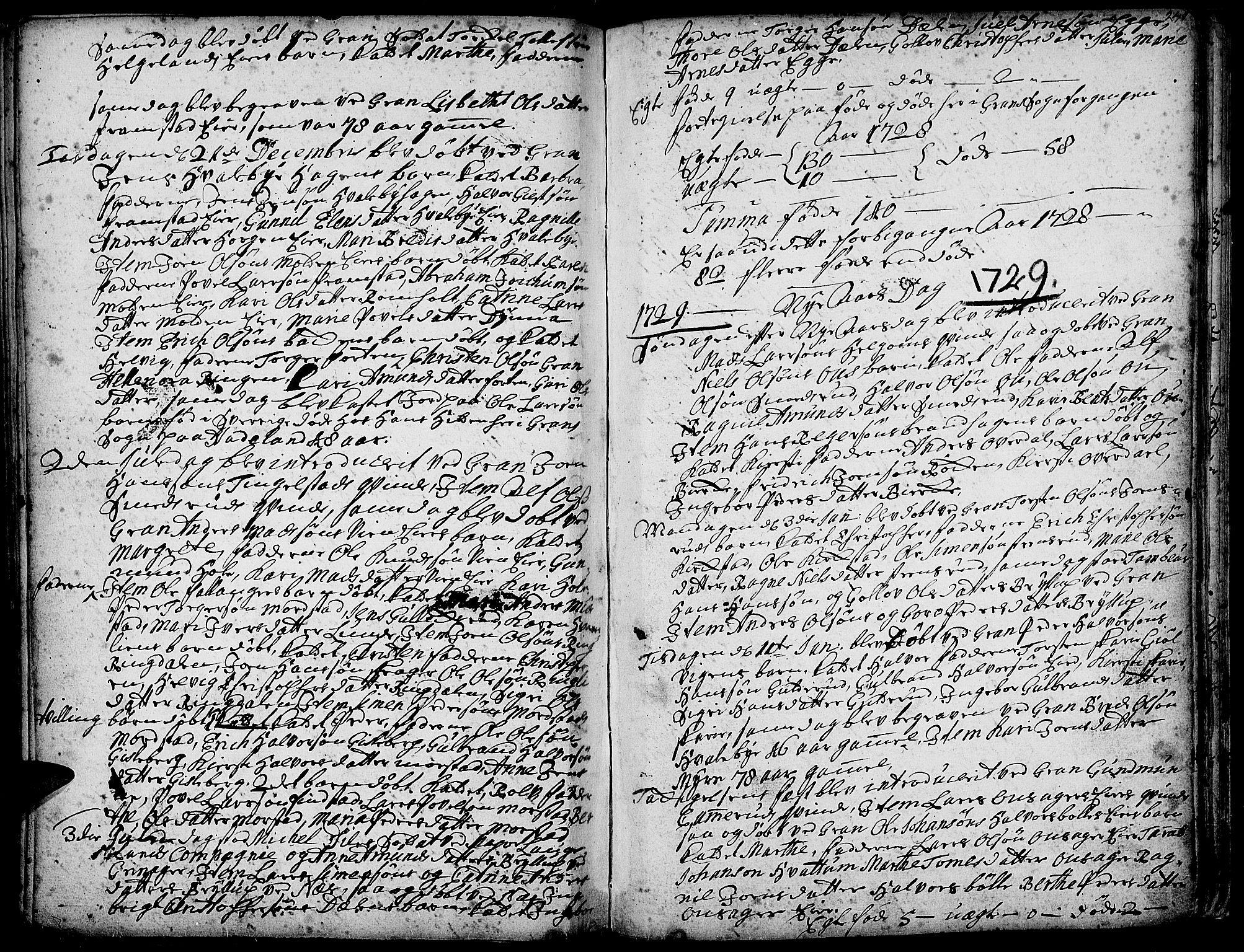 SAH, Gran prestekontor, Ministerialbok nr. 1, 1707-1731, s. 249